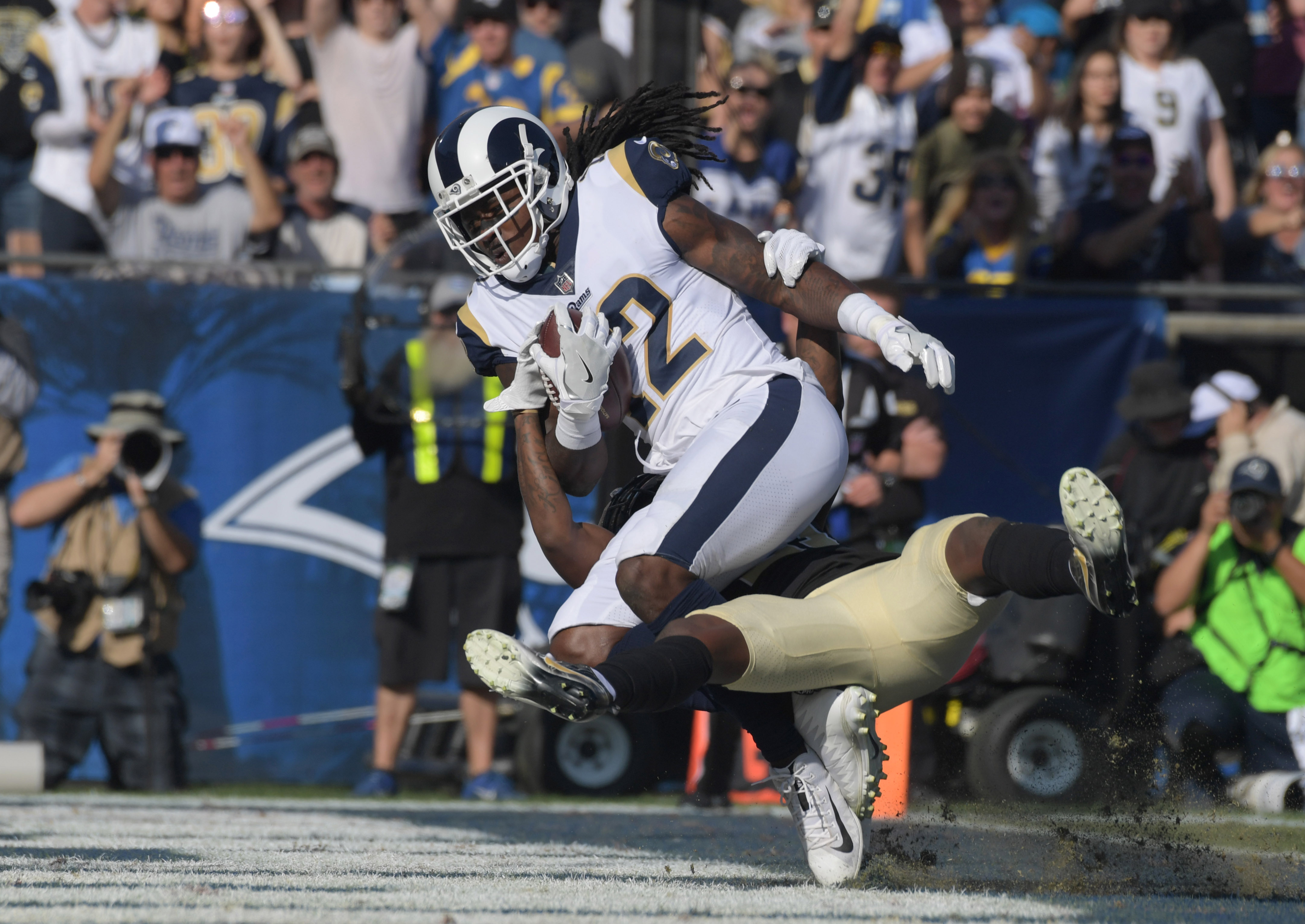 Los Angeles Rams WR Sammy Watkins scores a touchdown against the New Orleans Saints in Week 12