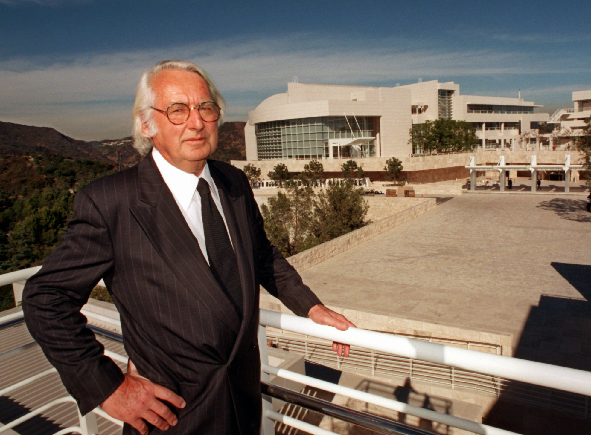 Architect Richard Meier stands at the Getty Center in Los Angeles in November 1997, a month before it opened to the public.