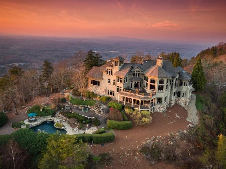 A mountaintop home for sale right now in Forsyth County, GA.