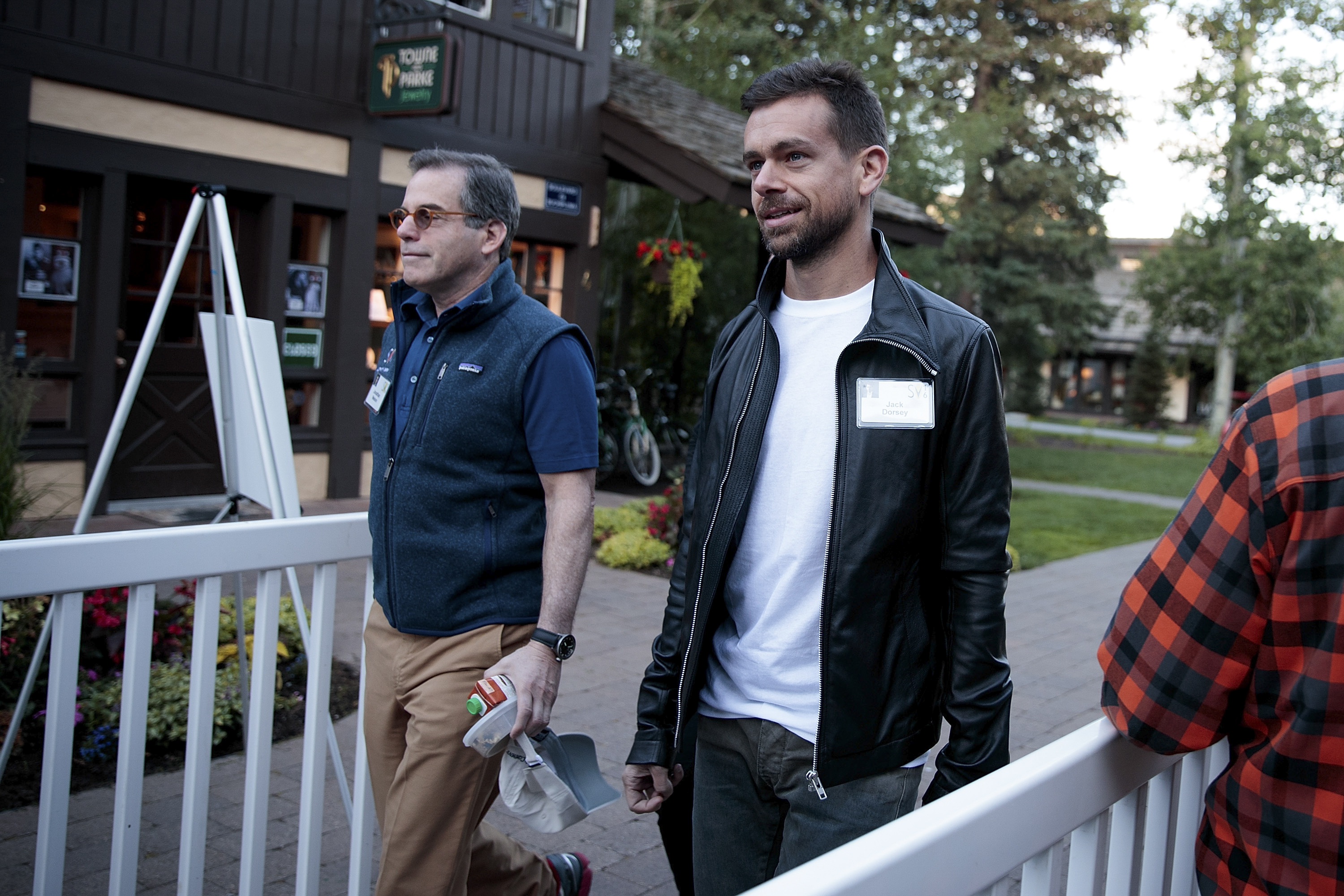 Jonathan Nelson, founder of Providence Equity Partners, and Jack Dorsey, co-founder and chief executive officer of Twitter