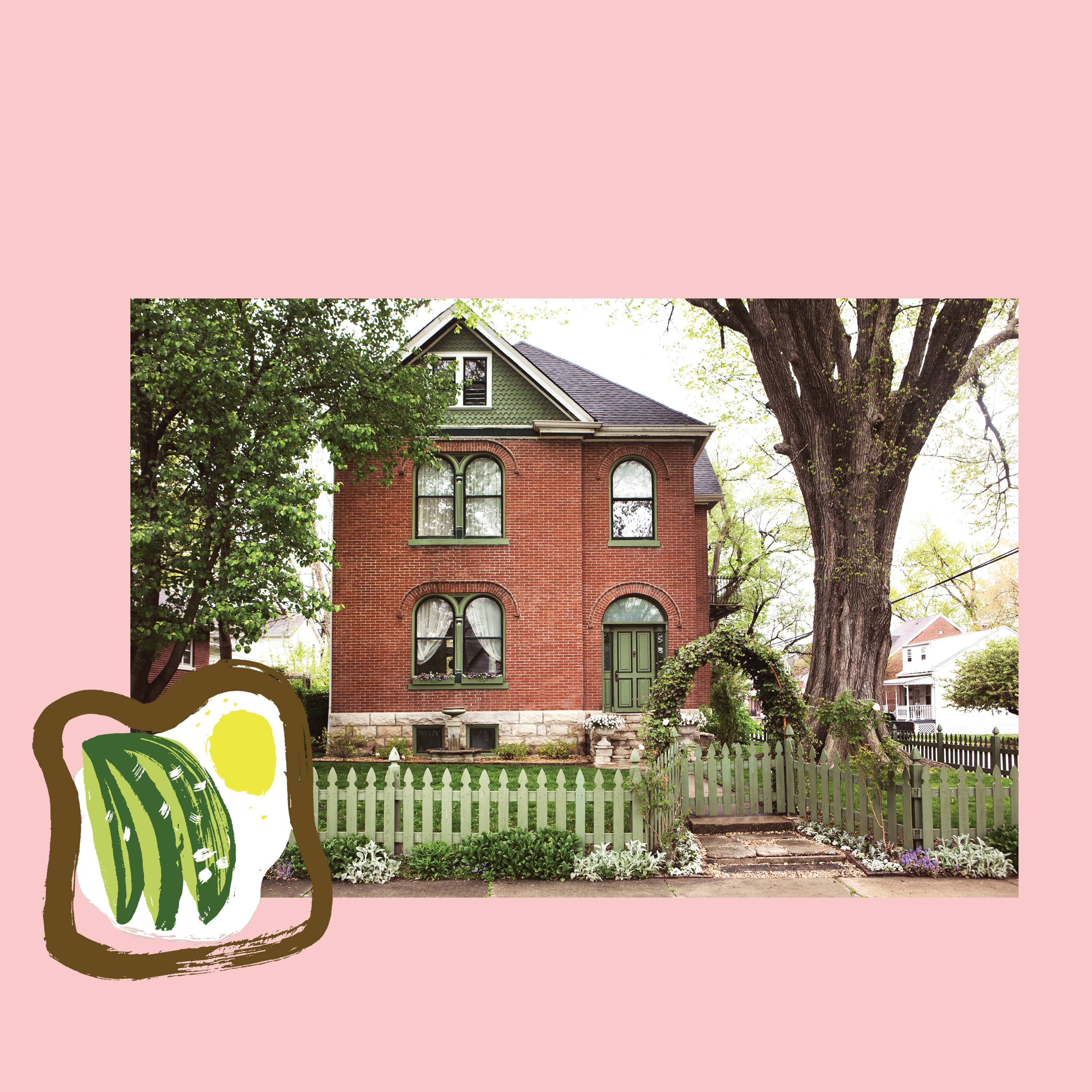 House with avocado toast illustration overlay on a pink background.