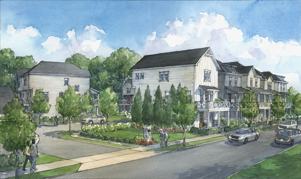 A rendering depicting one of two street entrances at a community designed, per developers, to encourage front-porch interaction with neighbors strolling by.