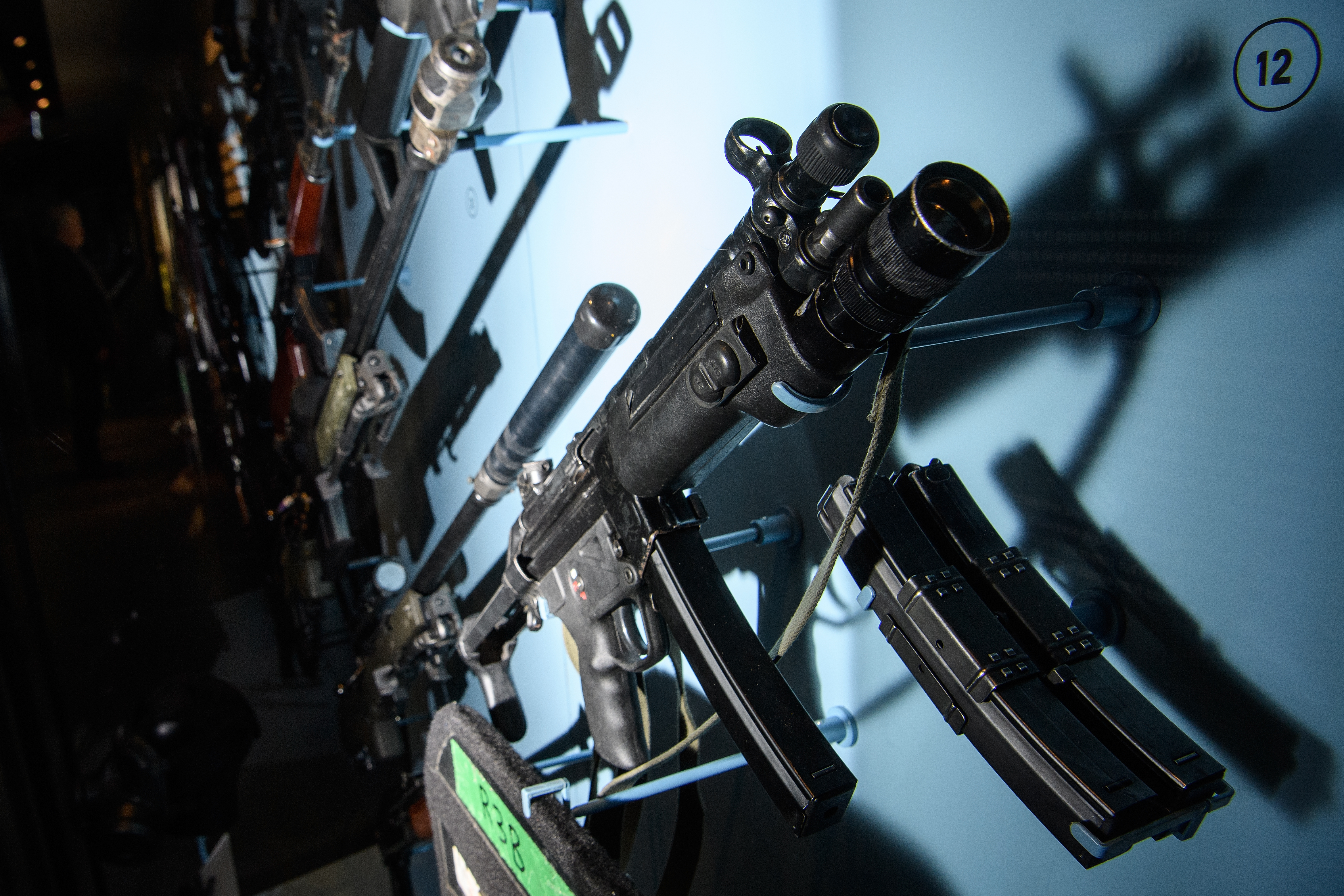MP5 submachine gun in display case at National Army Museum in London