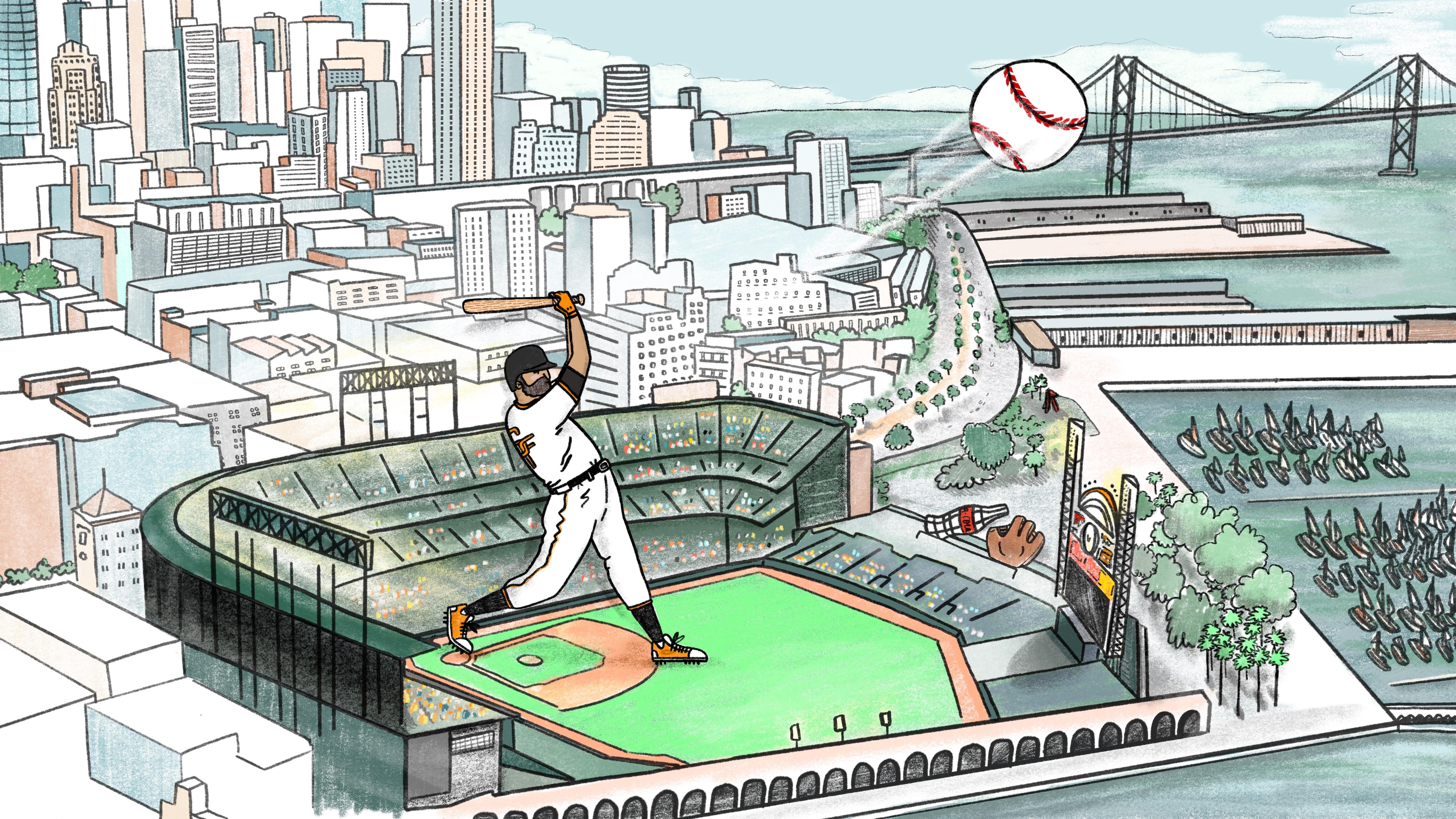 An illustration of a baseball player hitting a baseball out of a stadium with a baseball bat.