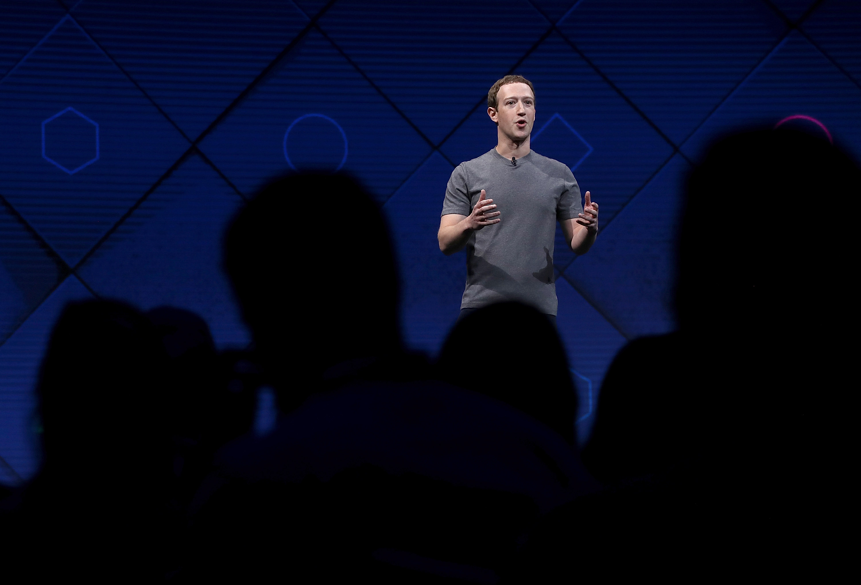 Facebook CEO Mark Zuckerberg speaking onstage