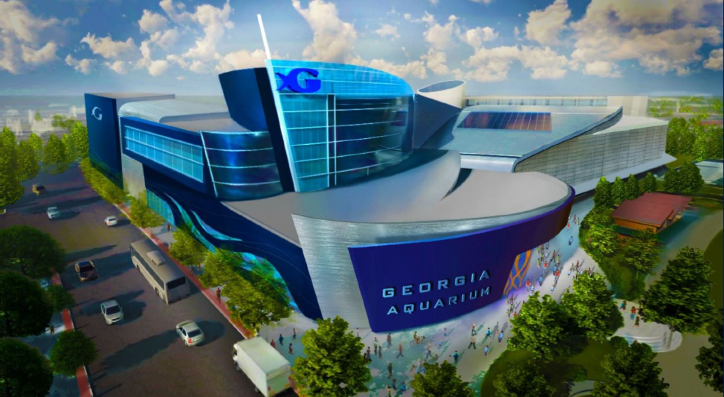 A rendering of a curving new blue addition to the Aquarium.