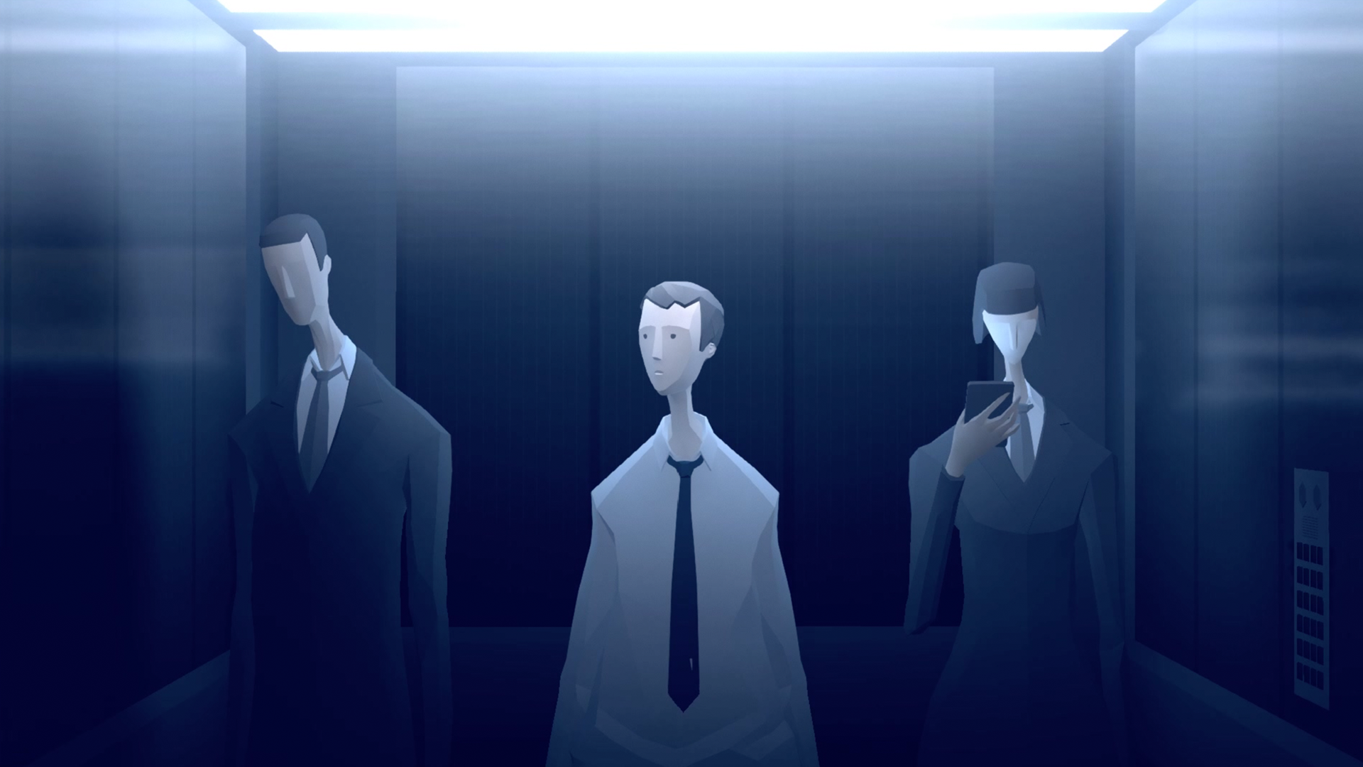 mosiac game characters in an elevator