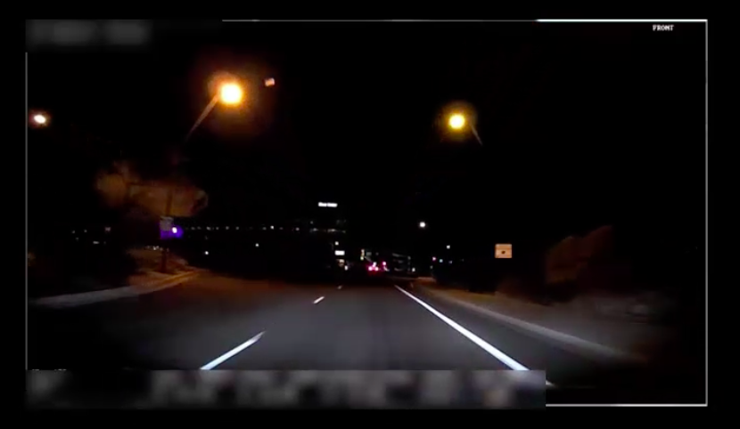 Screengrab from video taken inside Uber's self-driving car