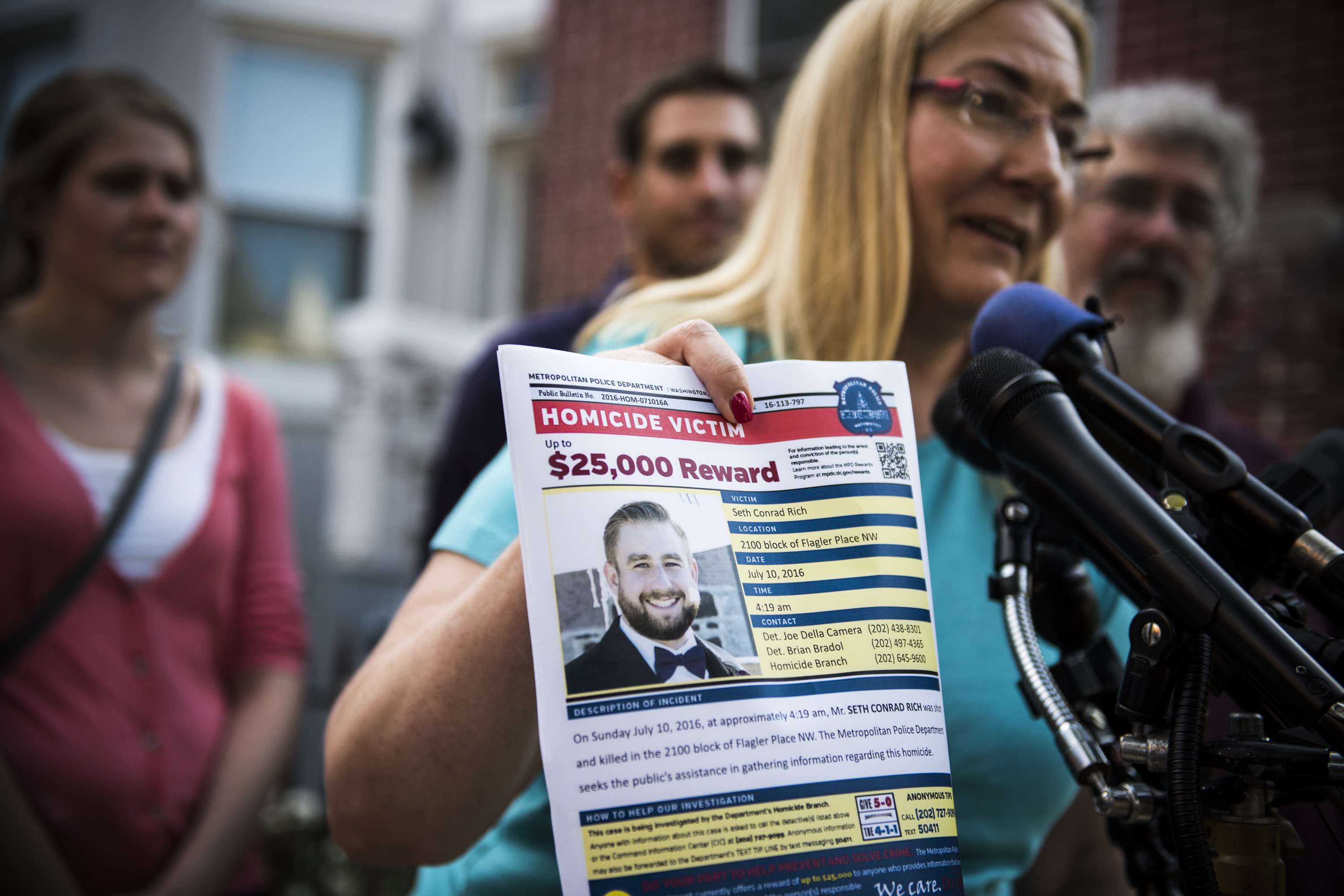Mary Rich, the mother Seth Rich, gives a press conference in the Bloomingdale neighborhood of Washington DC, on August 1, 2016.