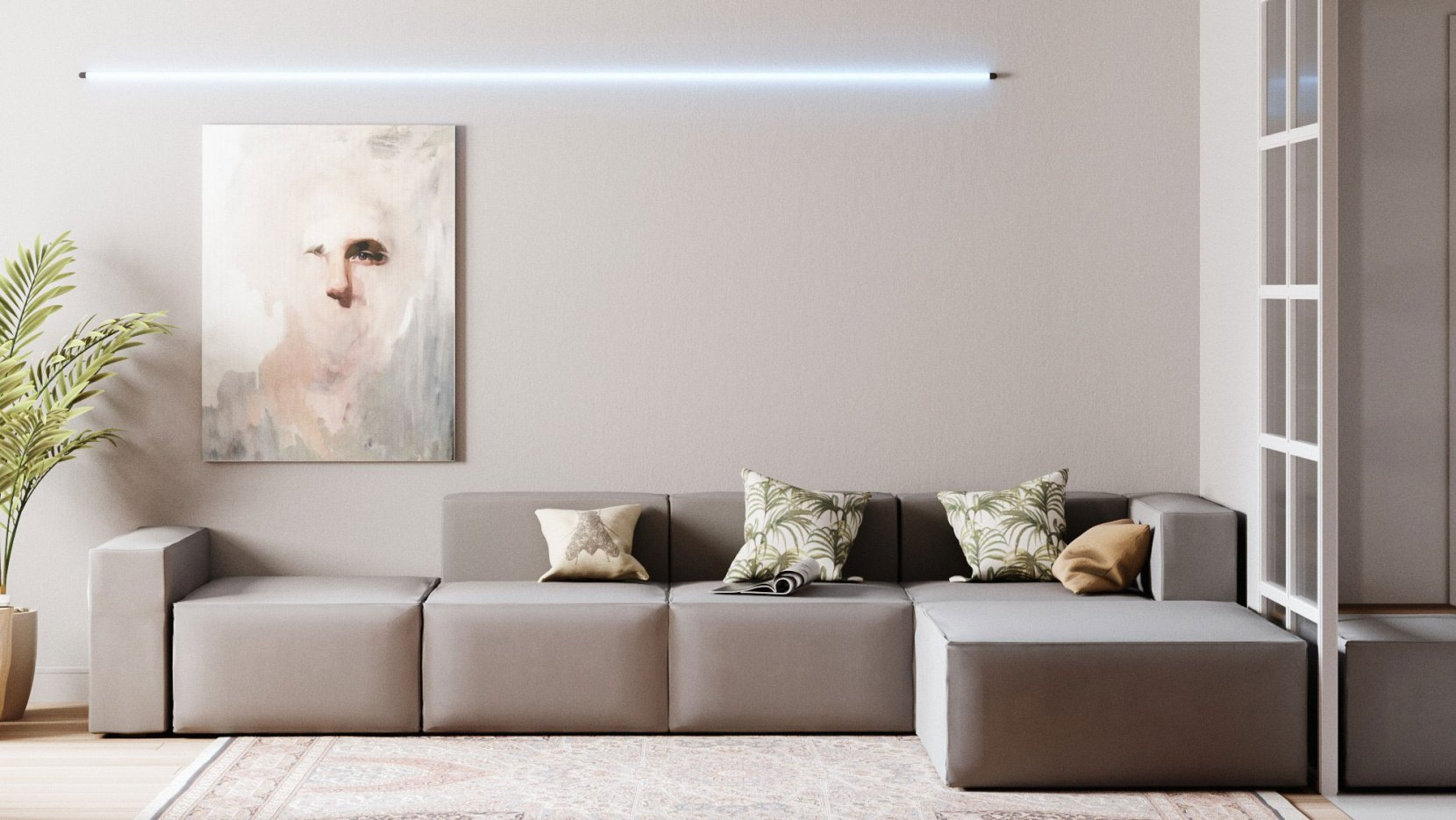 Living room with cuboid sofa sectional and pale gray walls and pale wood flooring with rug.