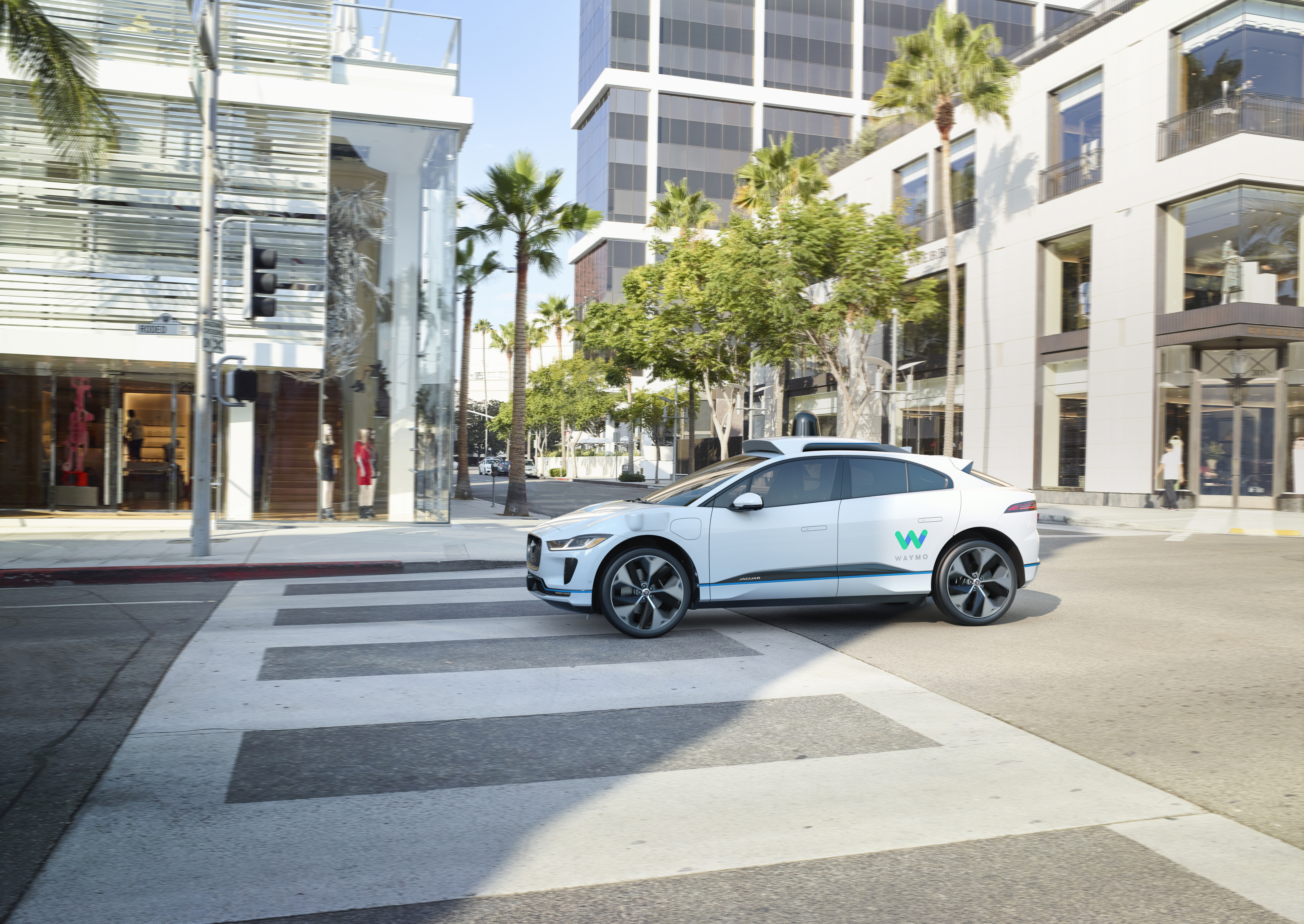 The new Jaguar vehicle that will be available through a Waymo ride-hail service.