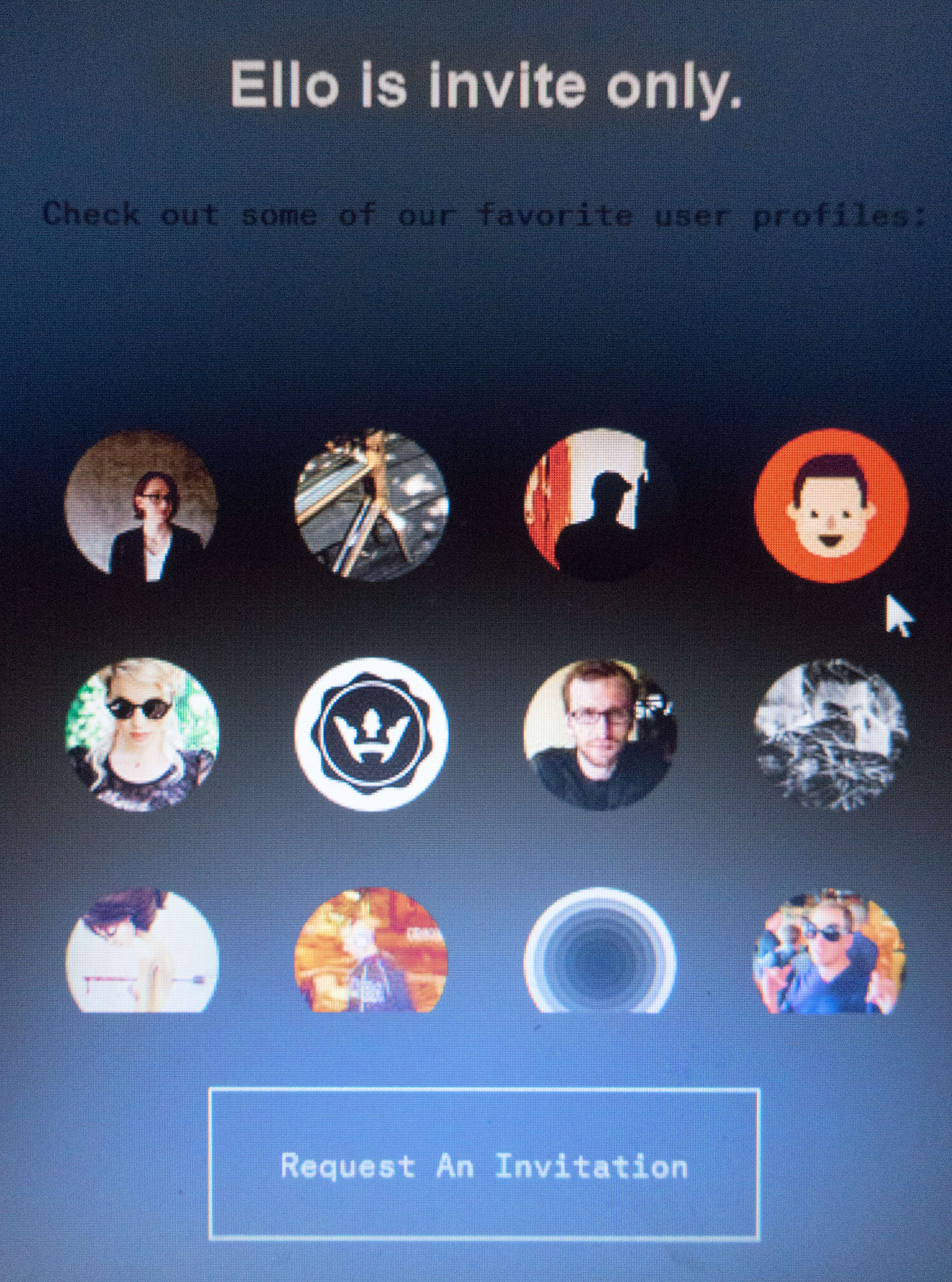 A screenshot of Ello, from 2014.