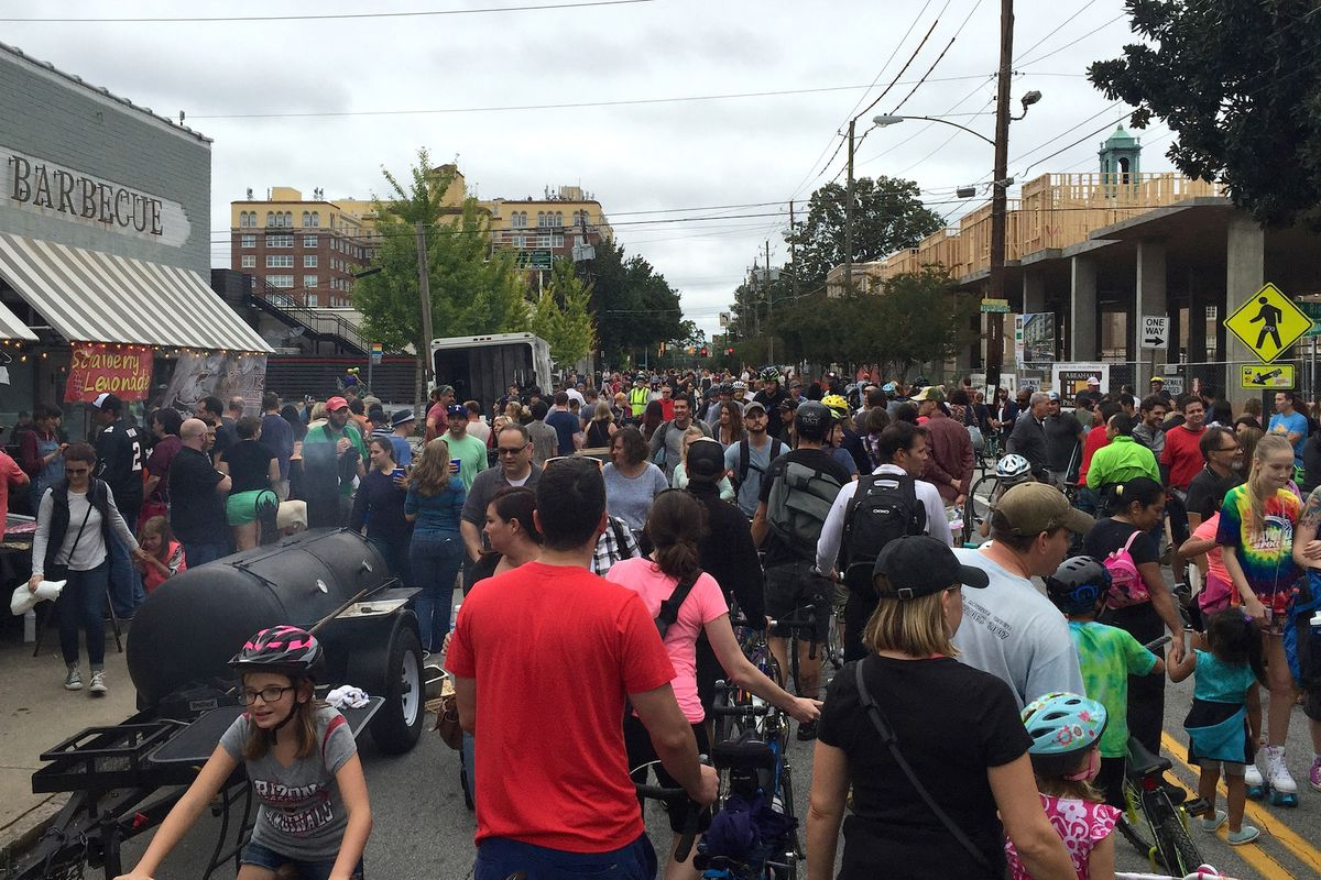 Atlanta Streets Alive, pictured on North Highland Avenue in 2015, will debut a new eastside route April 8.