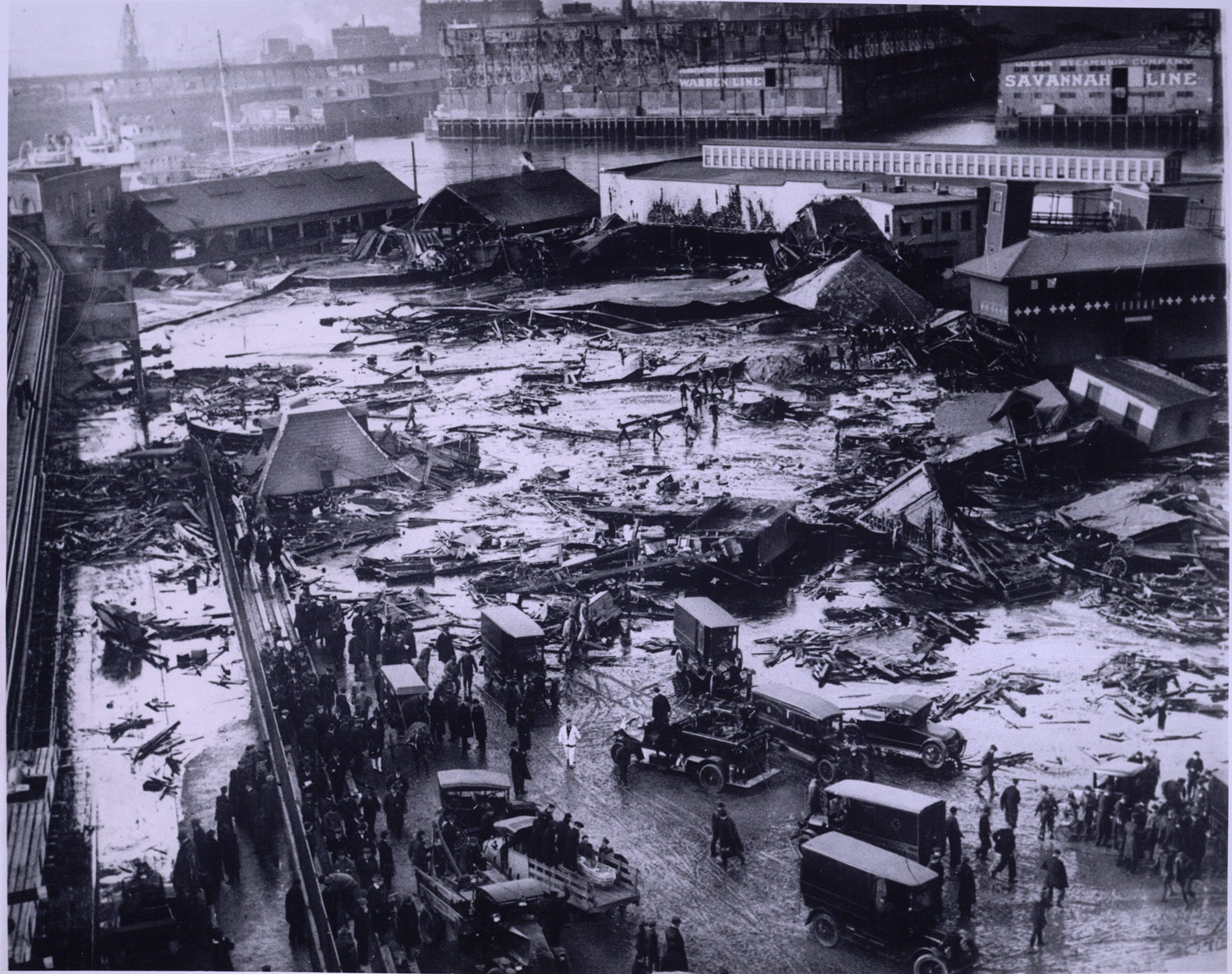 Great Molasses Flood site photographed on the day of the disaster in Boston's North End, January 15, 1919
