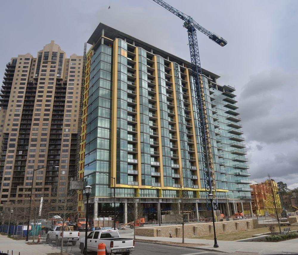 A photo of AMLI's massive rental community taking shape near Lenox Square in 2016.