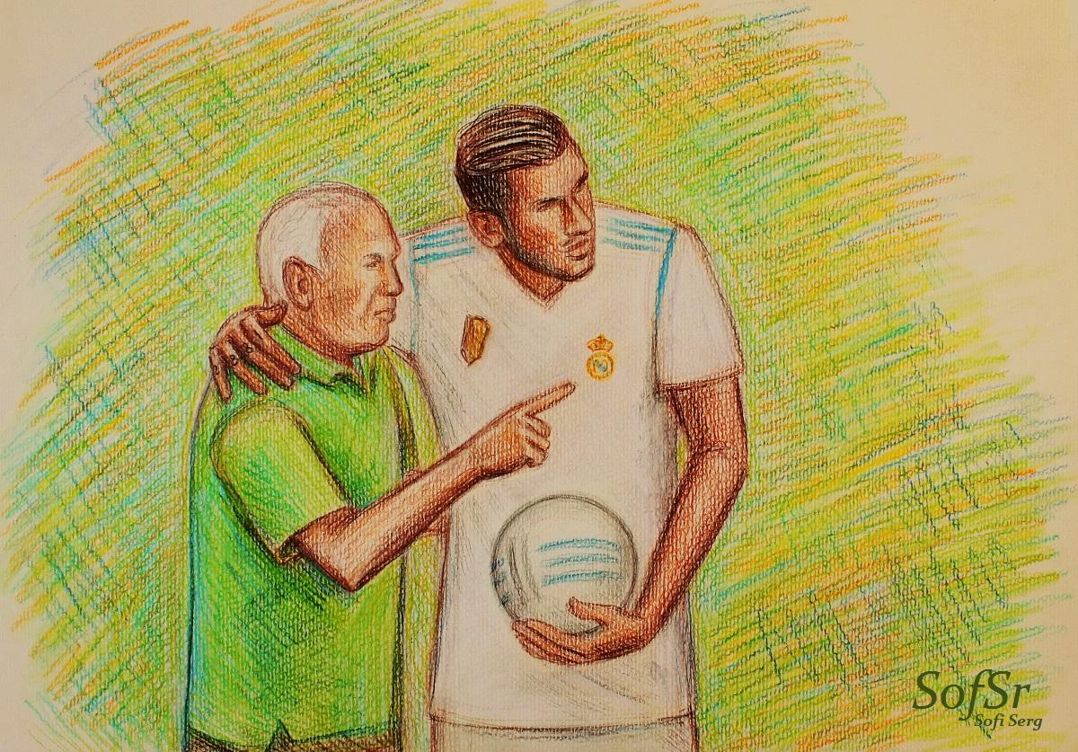 Agustin Herrerin and Theo Hernandez. Drawing by Sofi Serg.