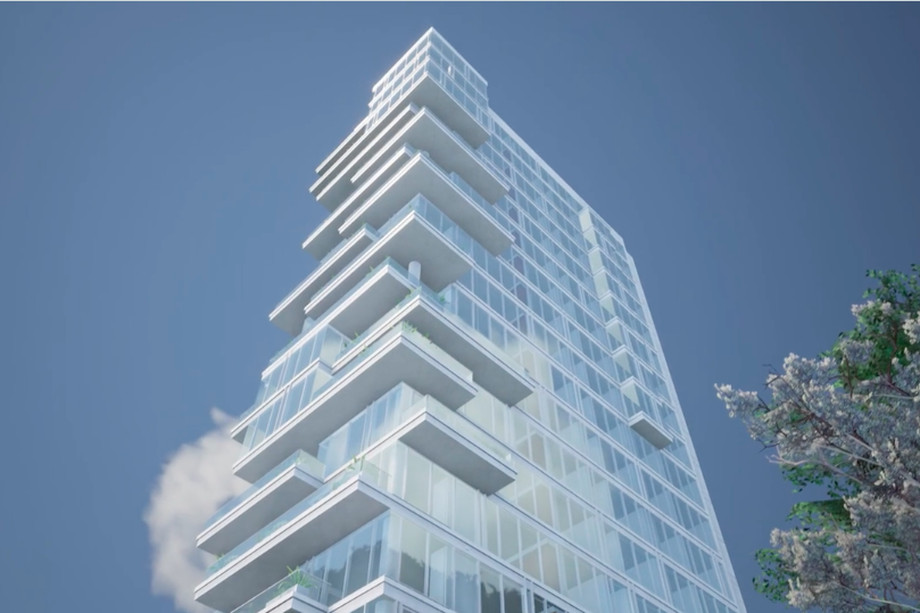 A rendering of the planned Peachtree Road-facing facade at Emerson.