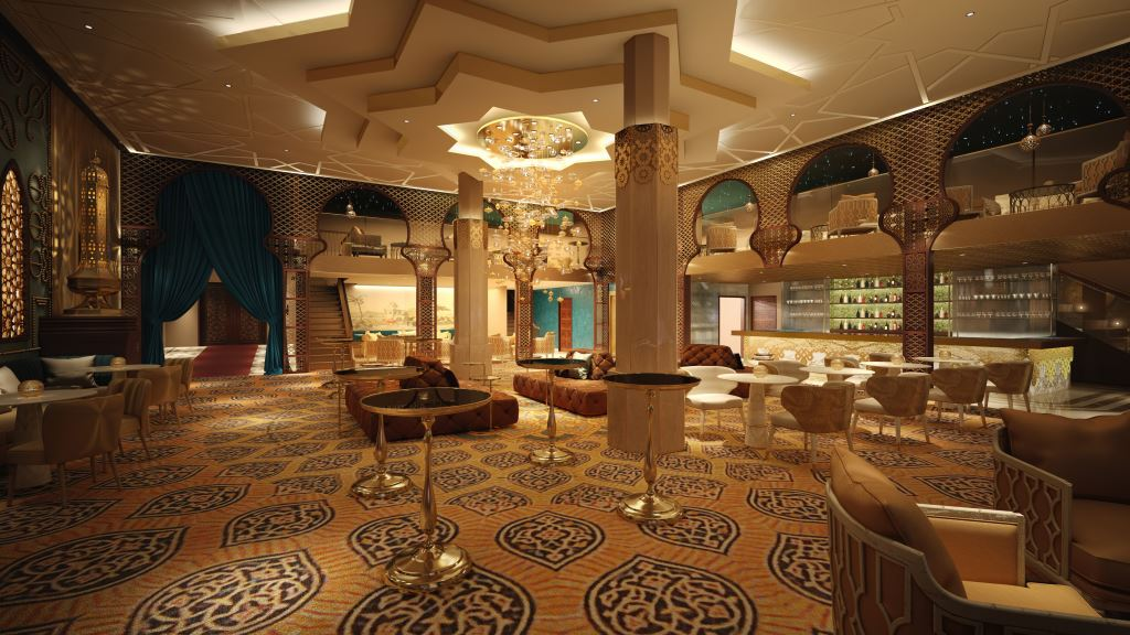 A rendering of a Moorish lounge interior.