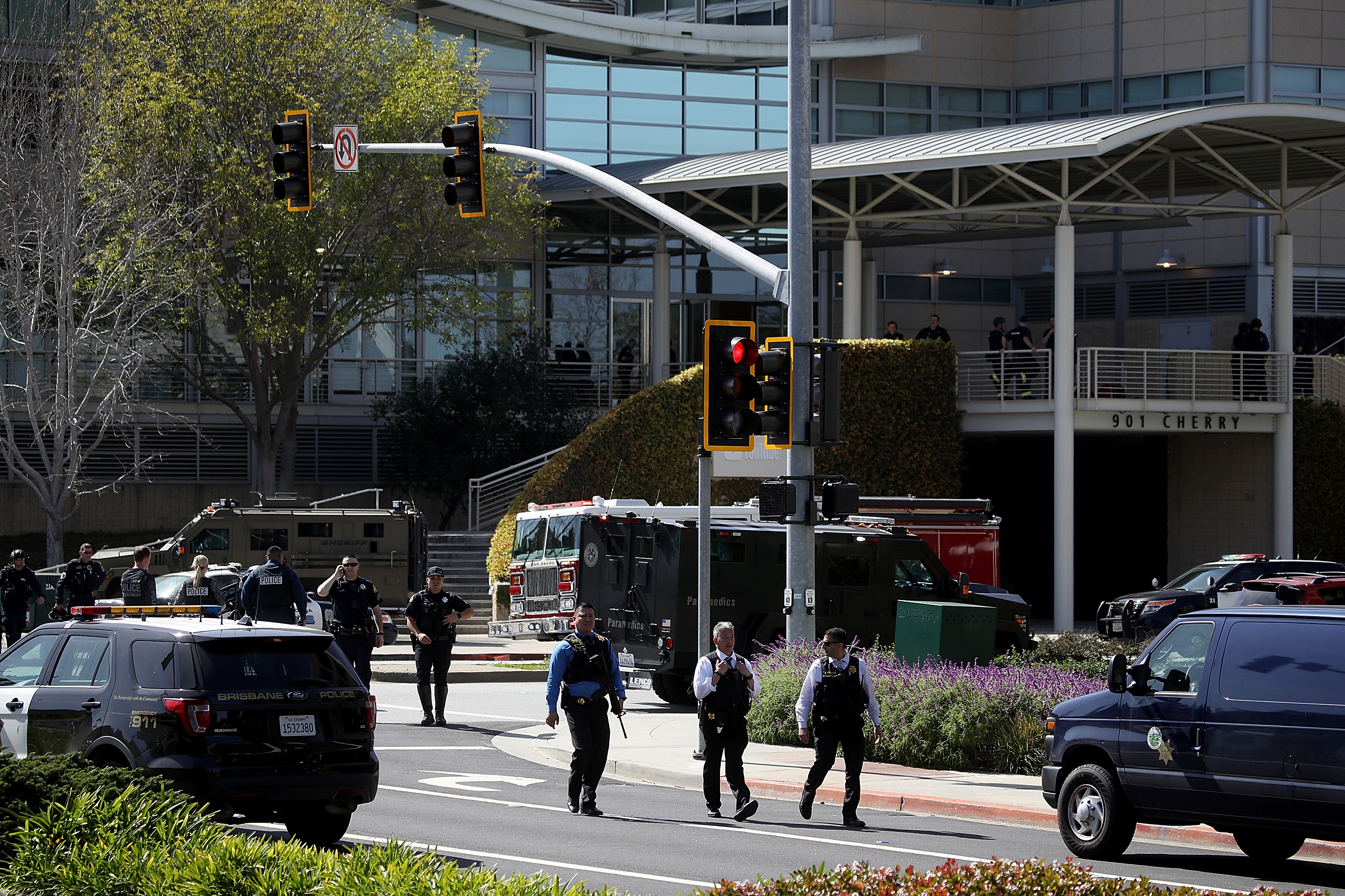 Outside YouTube headquarters in San Bruno, California, after a person opened fire.