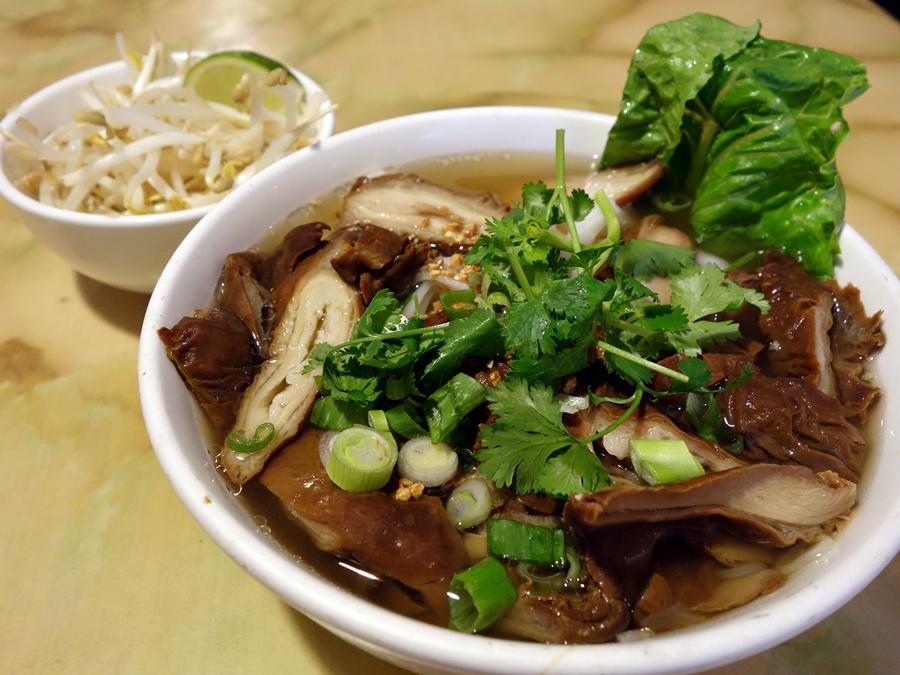 A bowl of noodles at Phnom Penh Noodle House