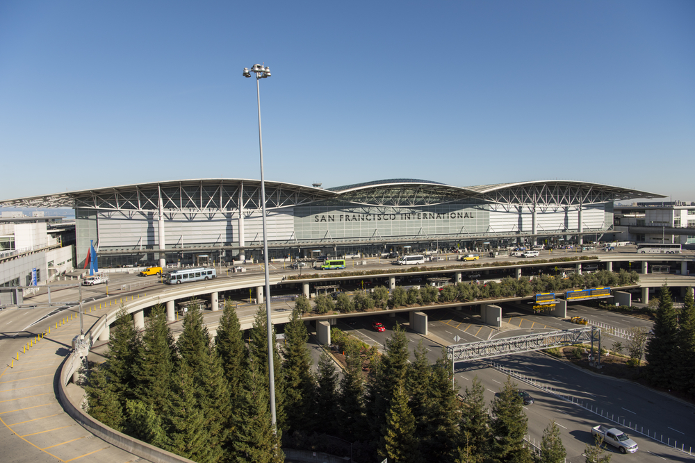 SF International Airport terminal seen from the freeway.