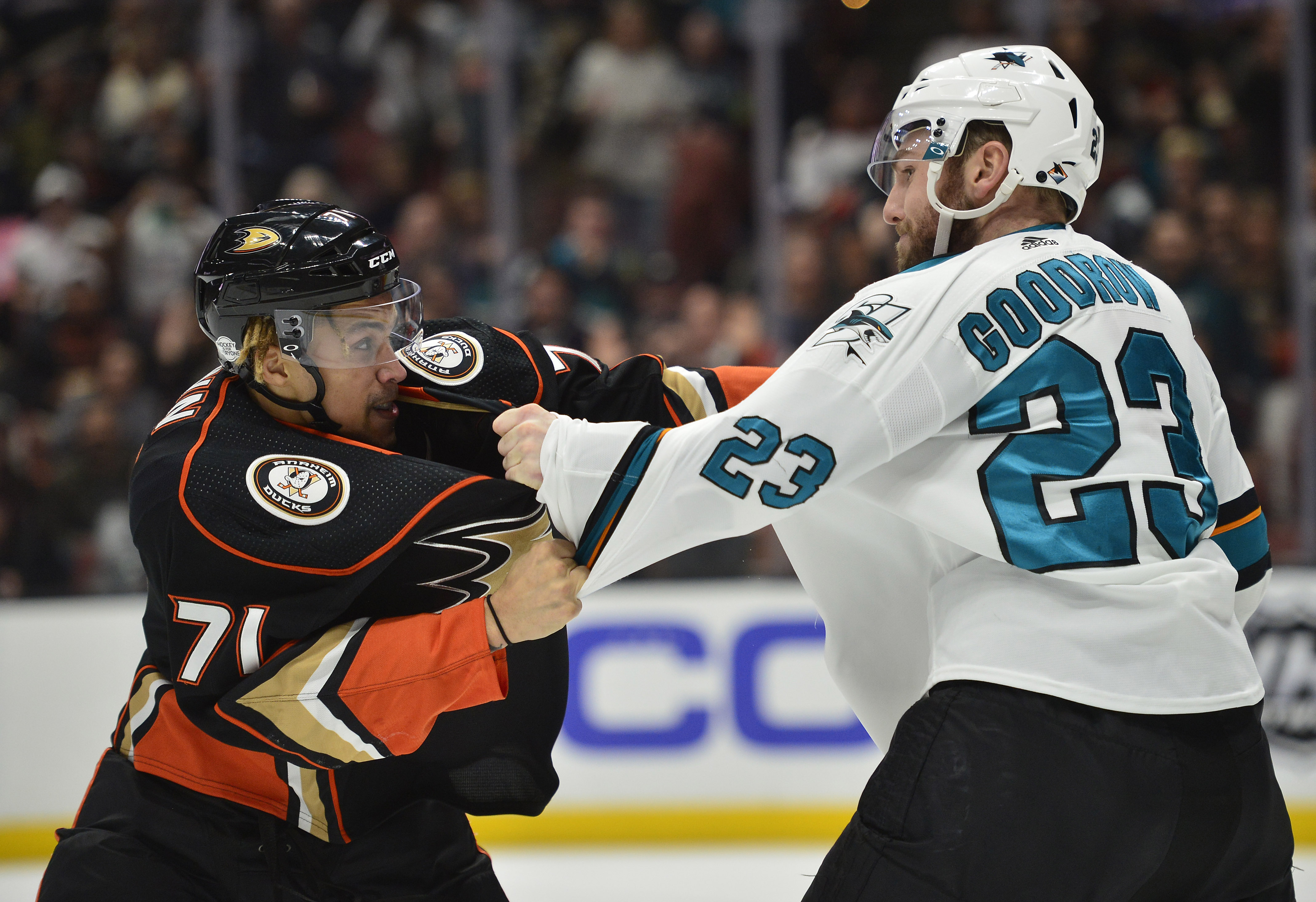 February 11, 2018; Anaheim, CA, USA; Anaheim Ducks right wing J.T. Brown (71) fights San Jose Sharks right wing Barclay Goodrow (23) at Honda Center.