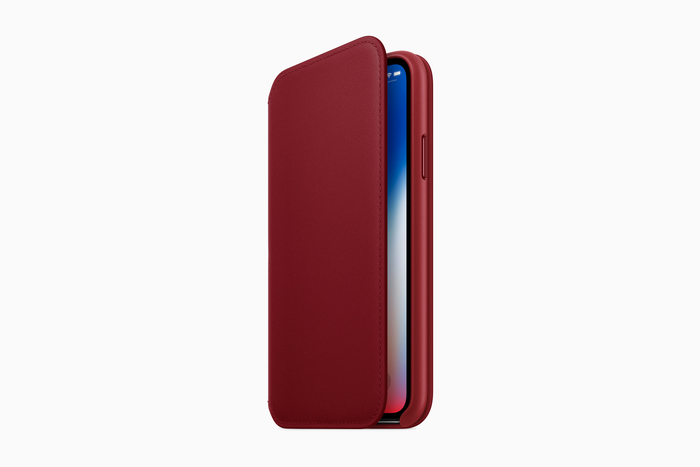 2ecf6968228 The iPhone X gets a RED leather folio