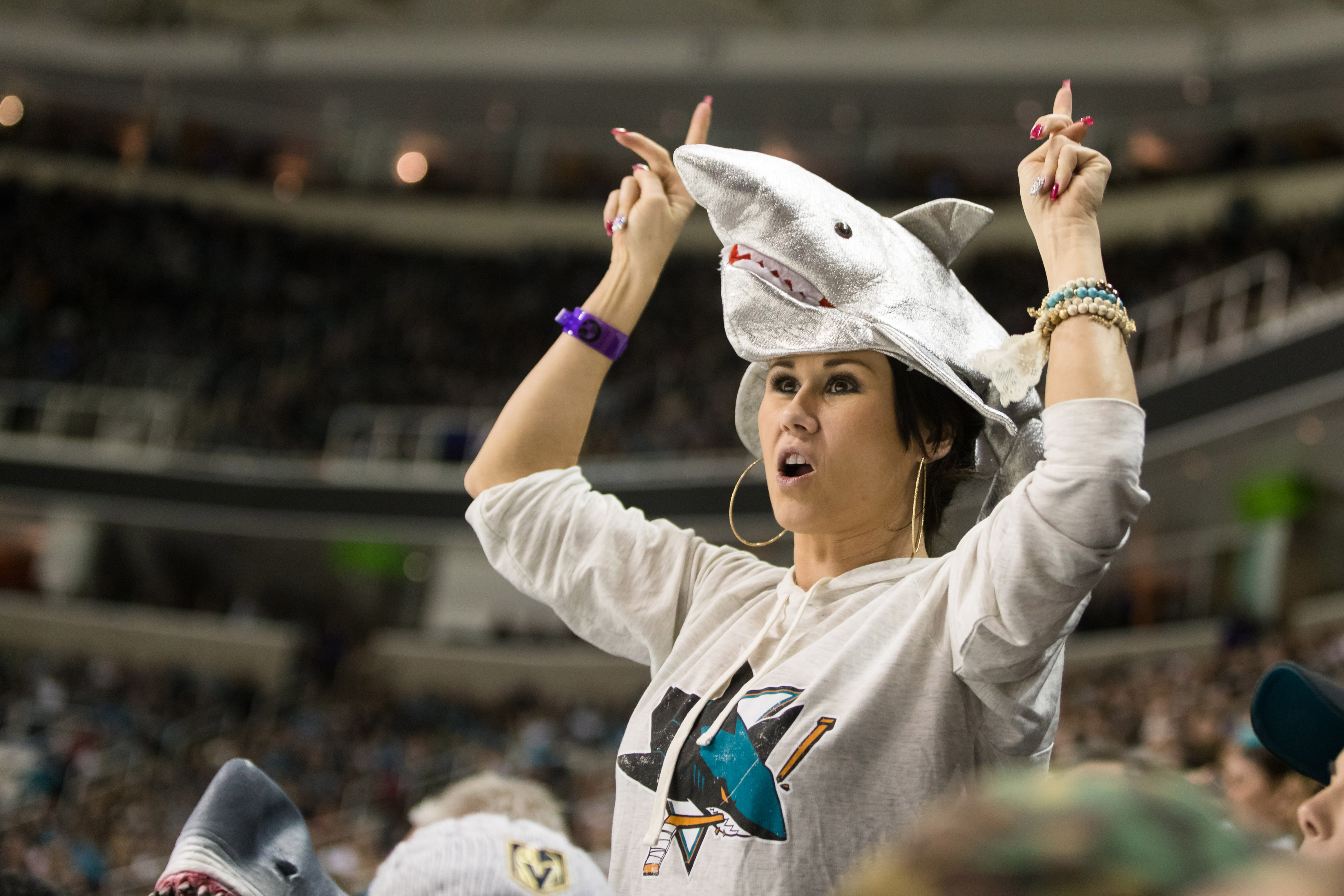 Mar 22, 2018; San Jose, CA, USA; A San Jose Sharks fans cheer in the second period against the Vegas Golden Knights at SAP Center at San Jose.