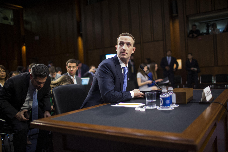 Facebook CEO Mark Zuckerberg testifying at a joint Senate Commerce/Judiciary hearing.