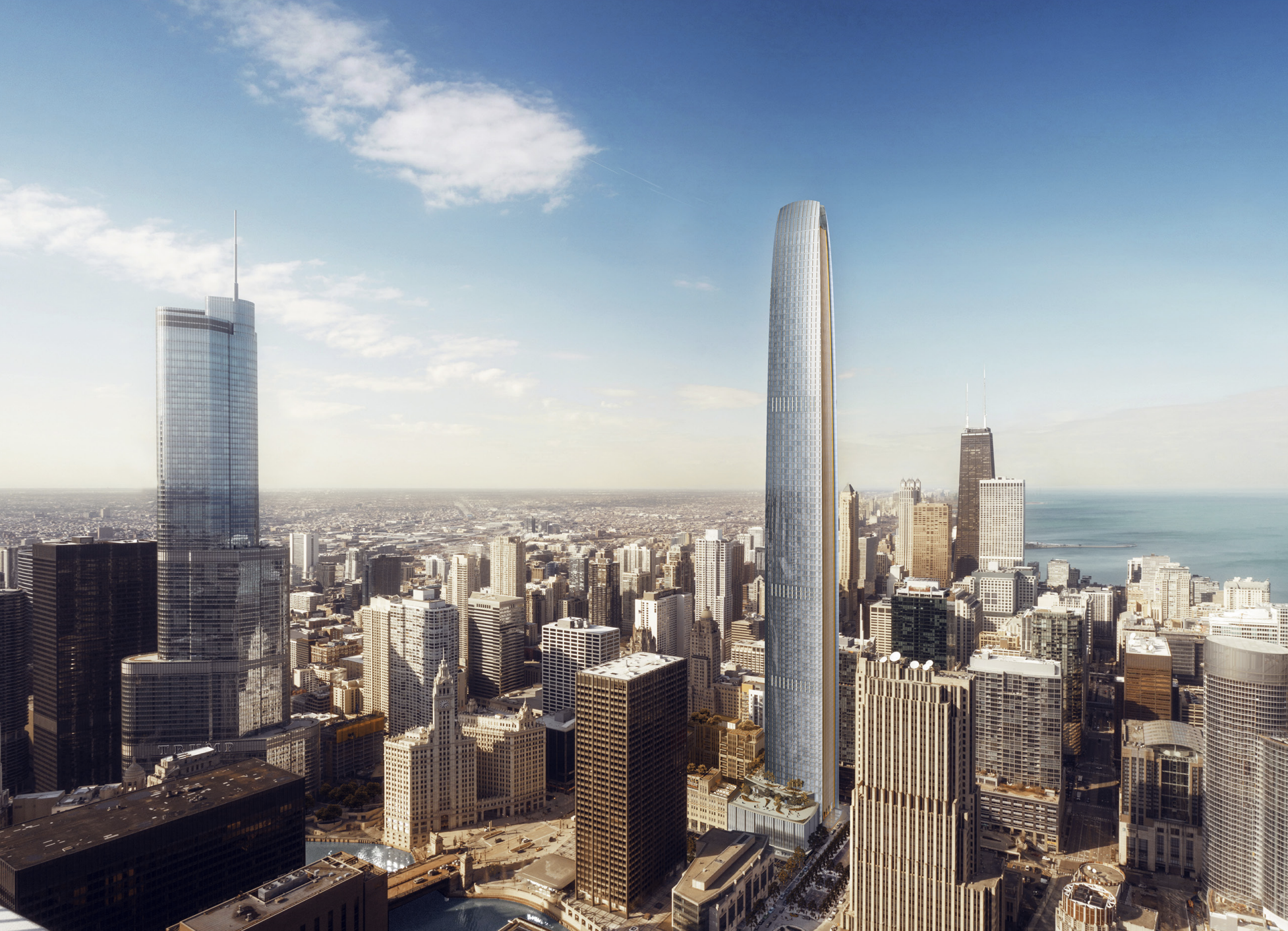 1 422 Foot Tribune Tower Addition Would Be Chicago S Second Tallest Building