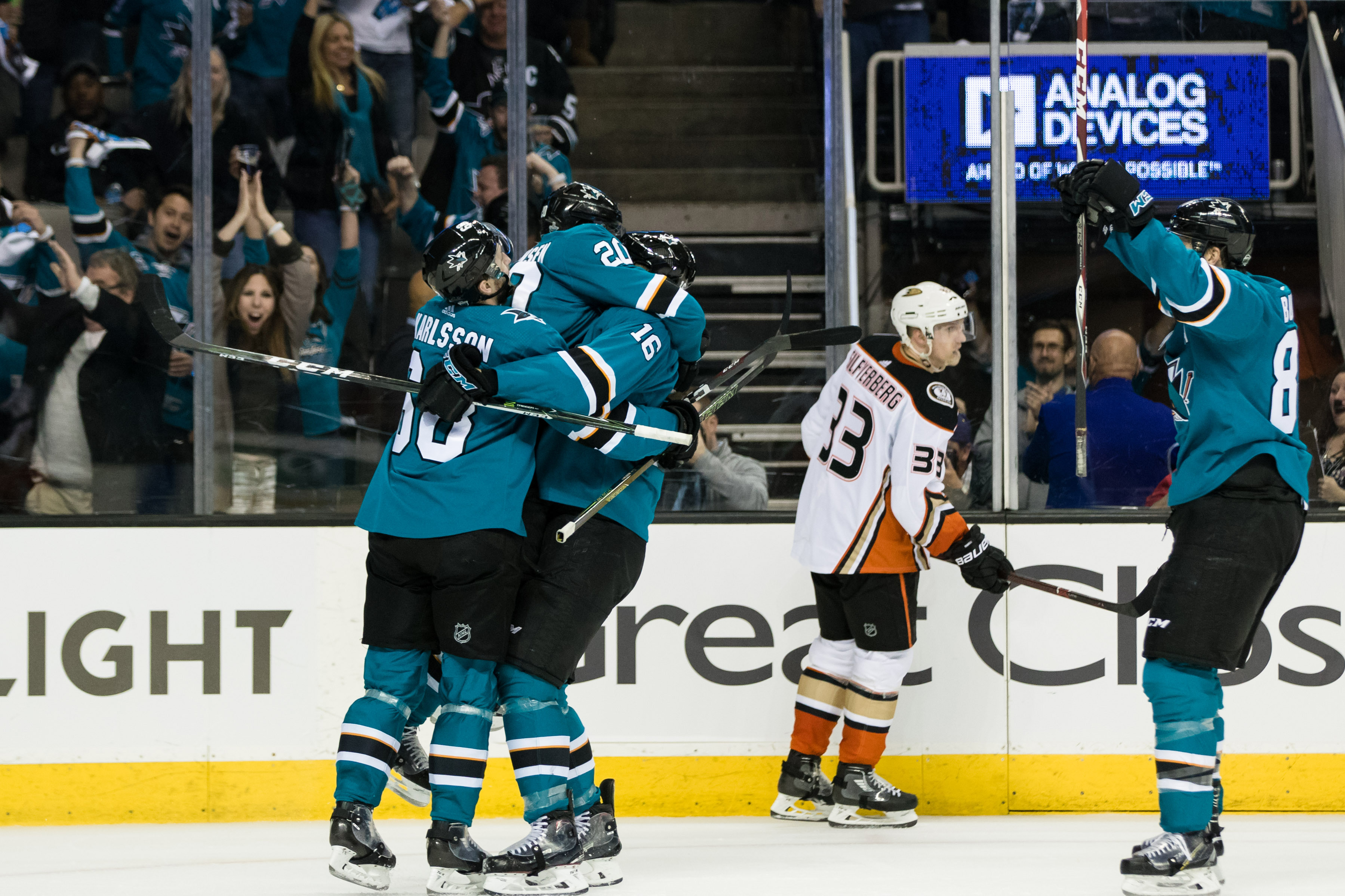 Apr 16, 2018; San Jose, CA, USA; San Jose Sharks center Eric Fehr (16)  celebrates after scoring a goal against the Anaheim Ducks in the second  period of game three of the first round of the 2018 Stanley Cup Playoffs  at SAP Center at San Jose.