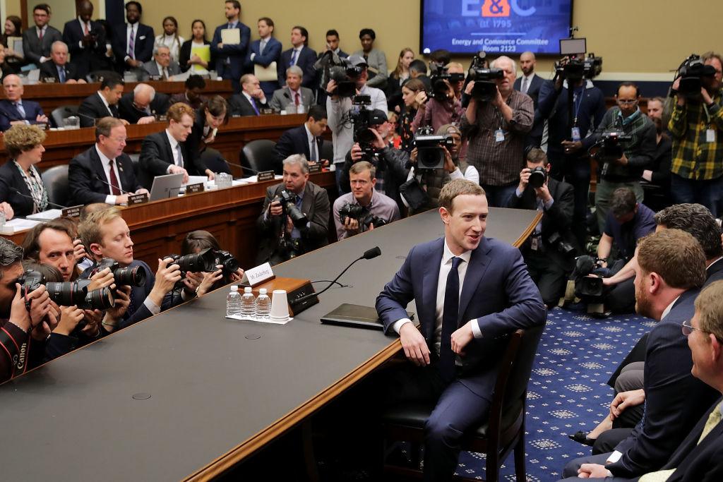 Mark Zuckerberg giving testimony before Congress