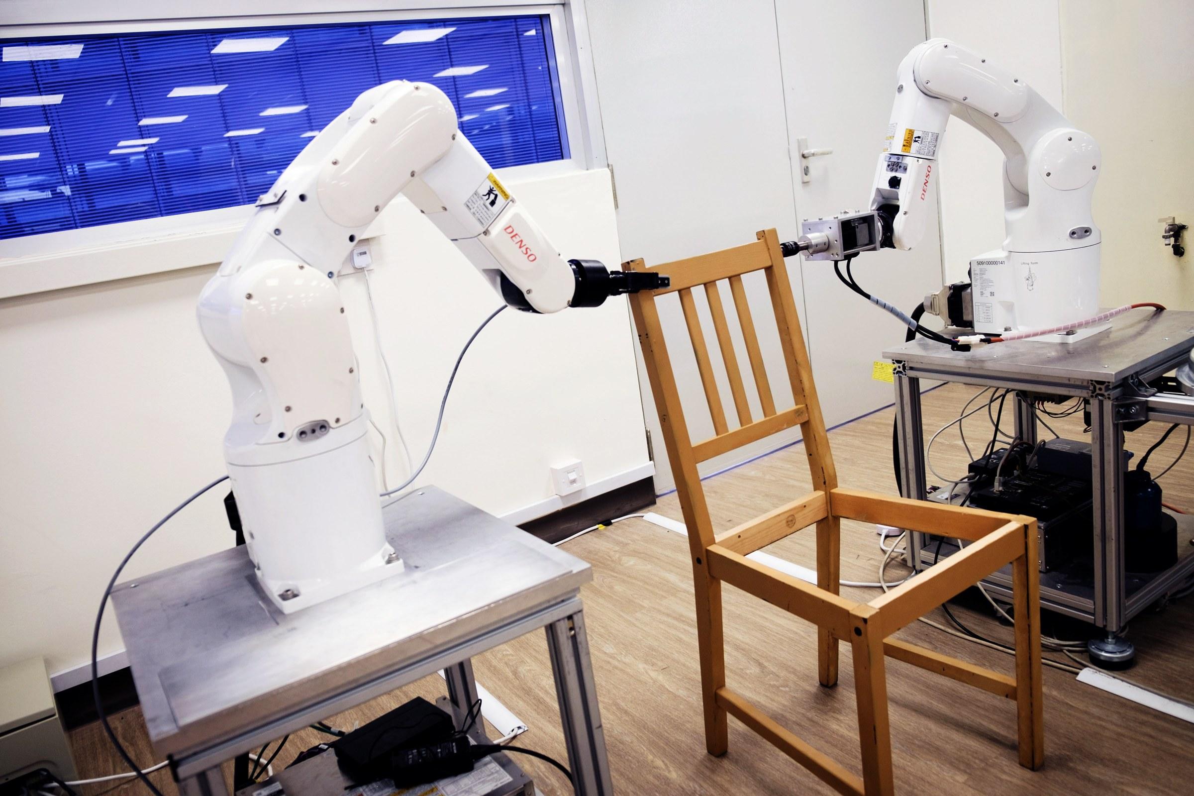 Ikea chair assembled by robots