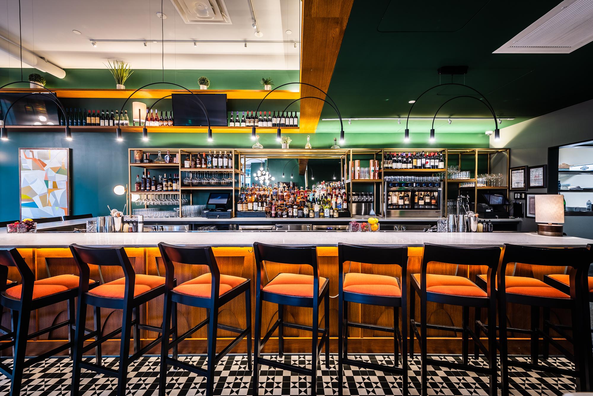 The bar inside the Eastern has a Mid-century Modern style