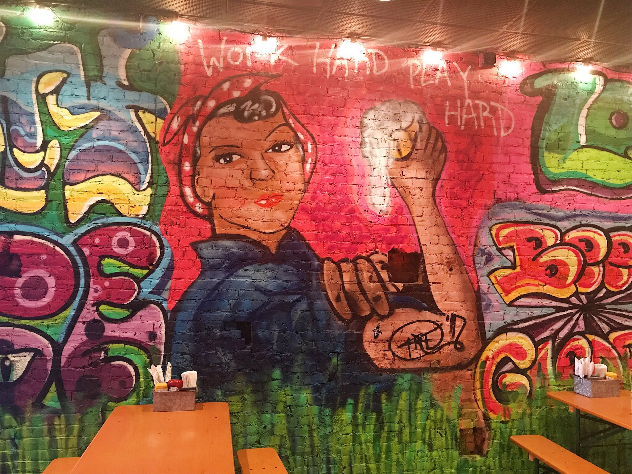 Mural by Joseph Koury in Two Saints Tavern — a hold-over from Our House East