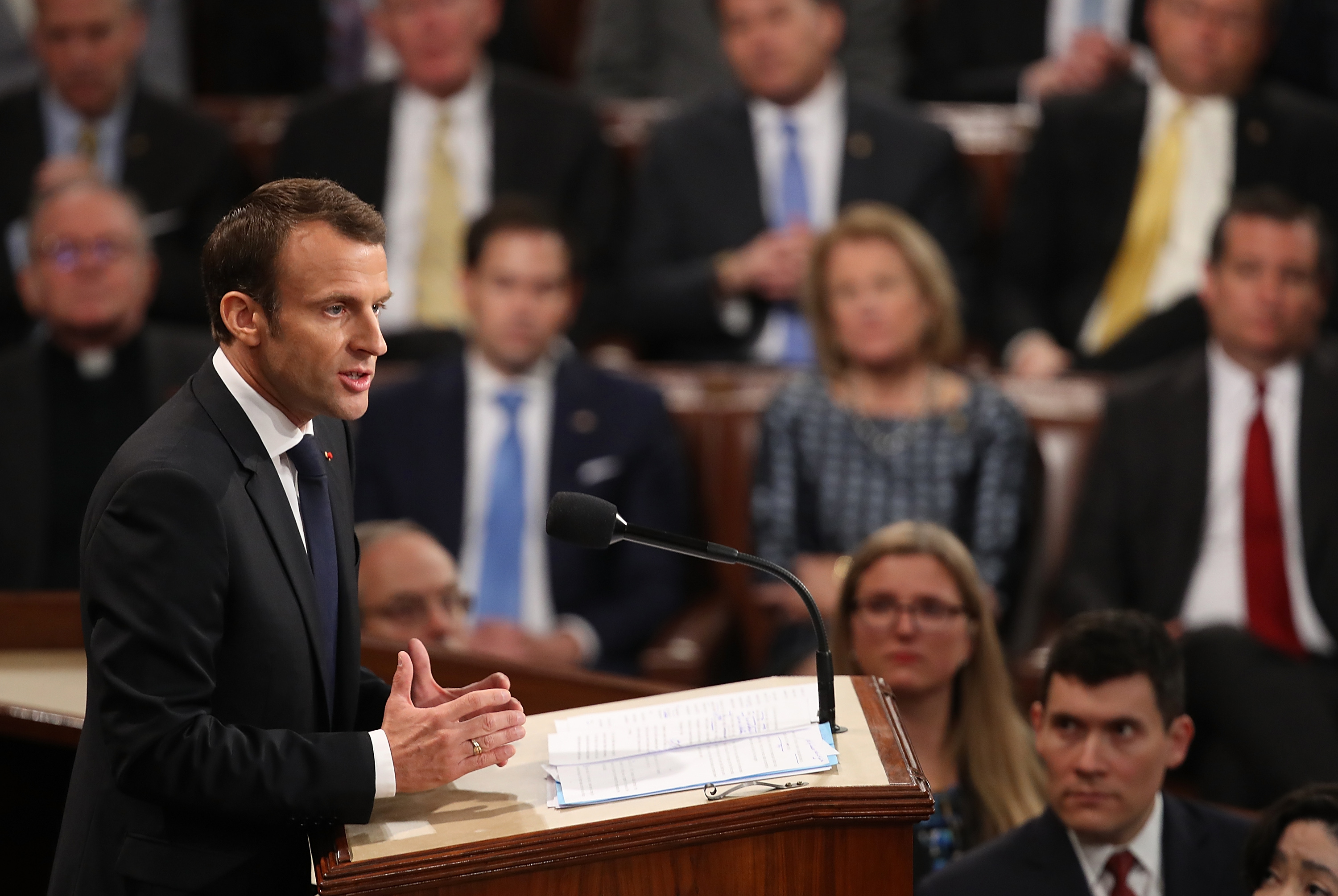 Macron just slammed Trump's worldview in a rare address to Congress