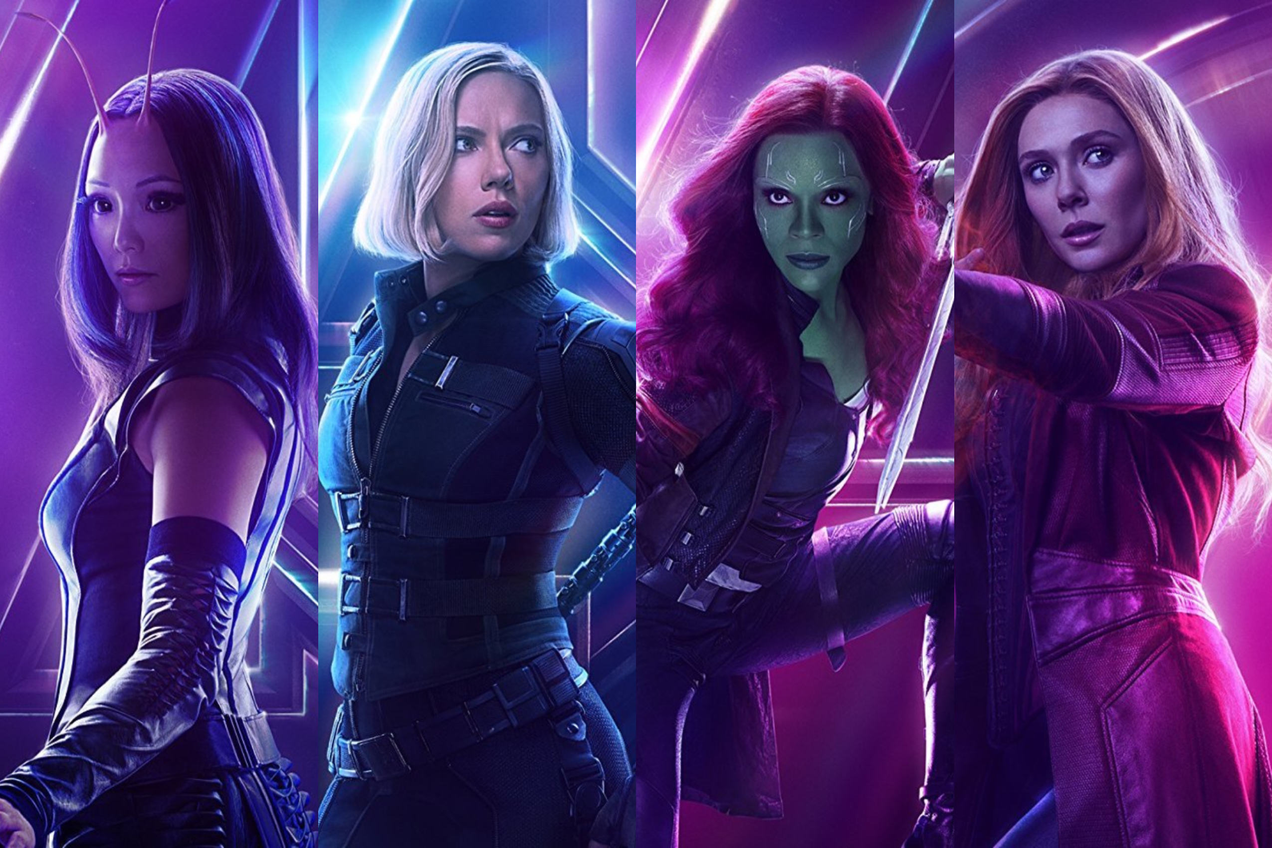 Mantis, Black Widow, Gamora, and Scarlet Witch of Avengers: Infinity War.