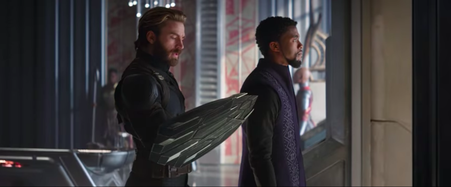 Captain America and Black Panther in the Super Bowl spot for Avengers: Infinity War