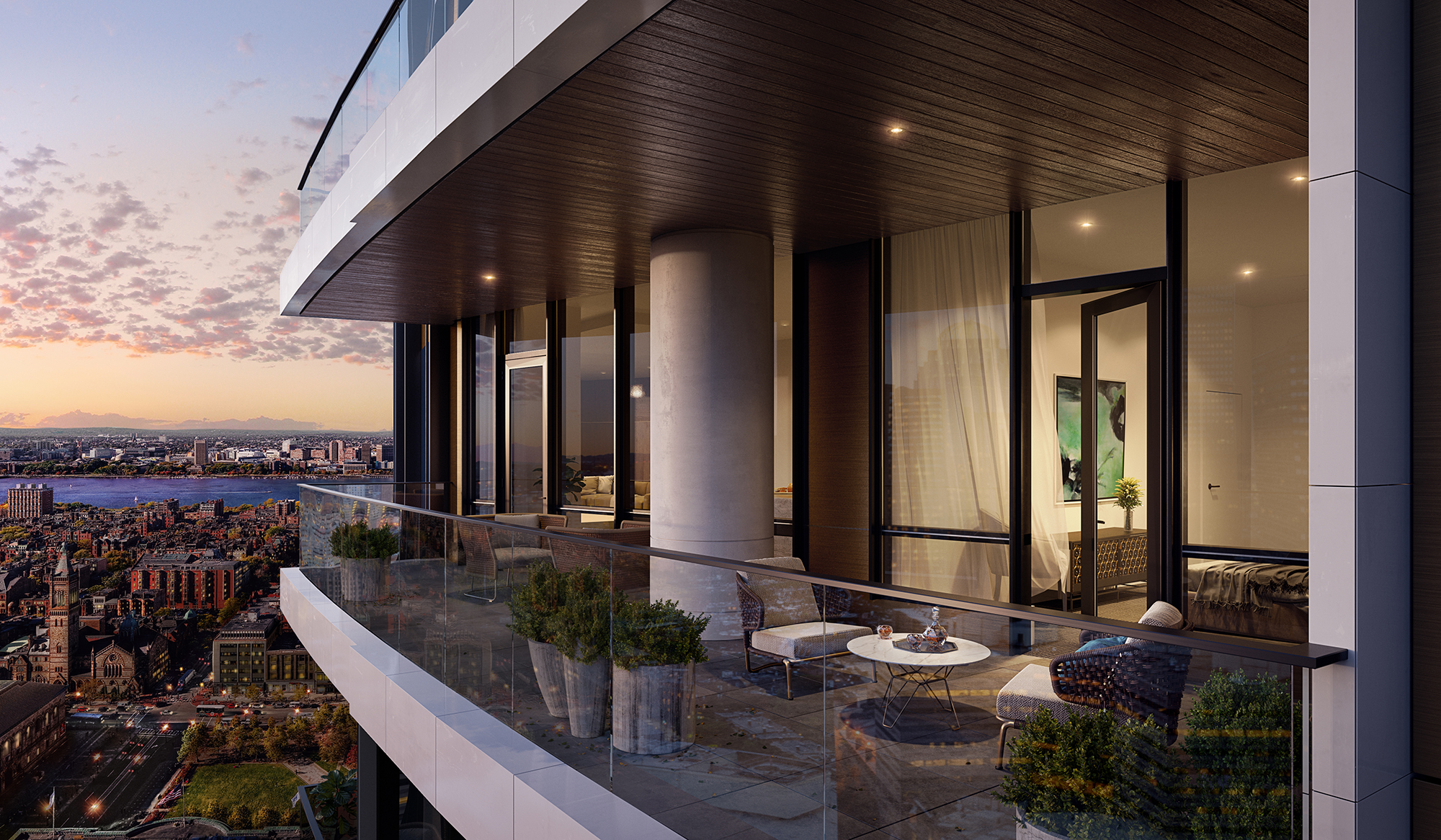 Rendering of a terrace off a high floor of a swanky hotel tower.