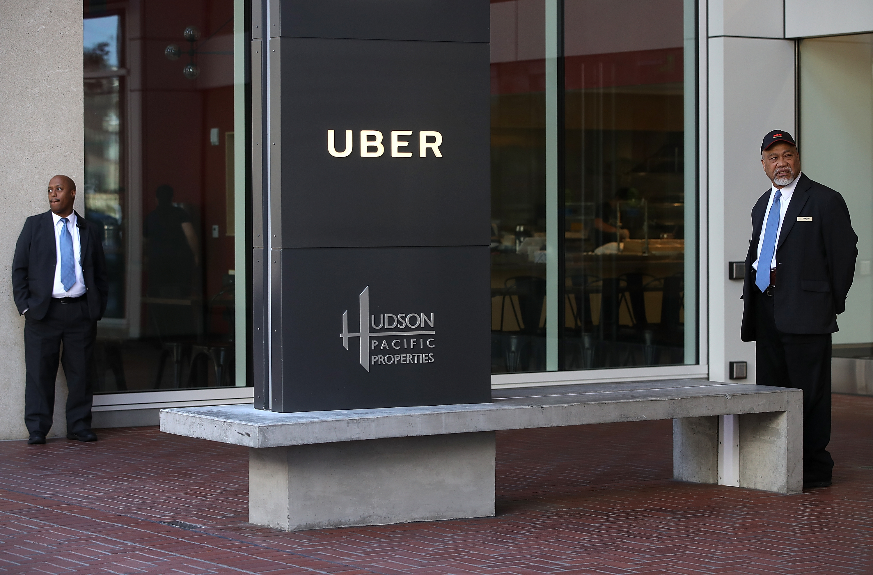 The Uber sign outside Uber headquarters in San Francisco