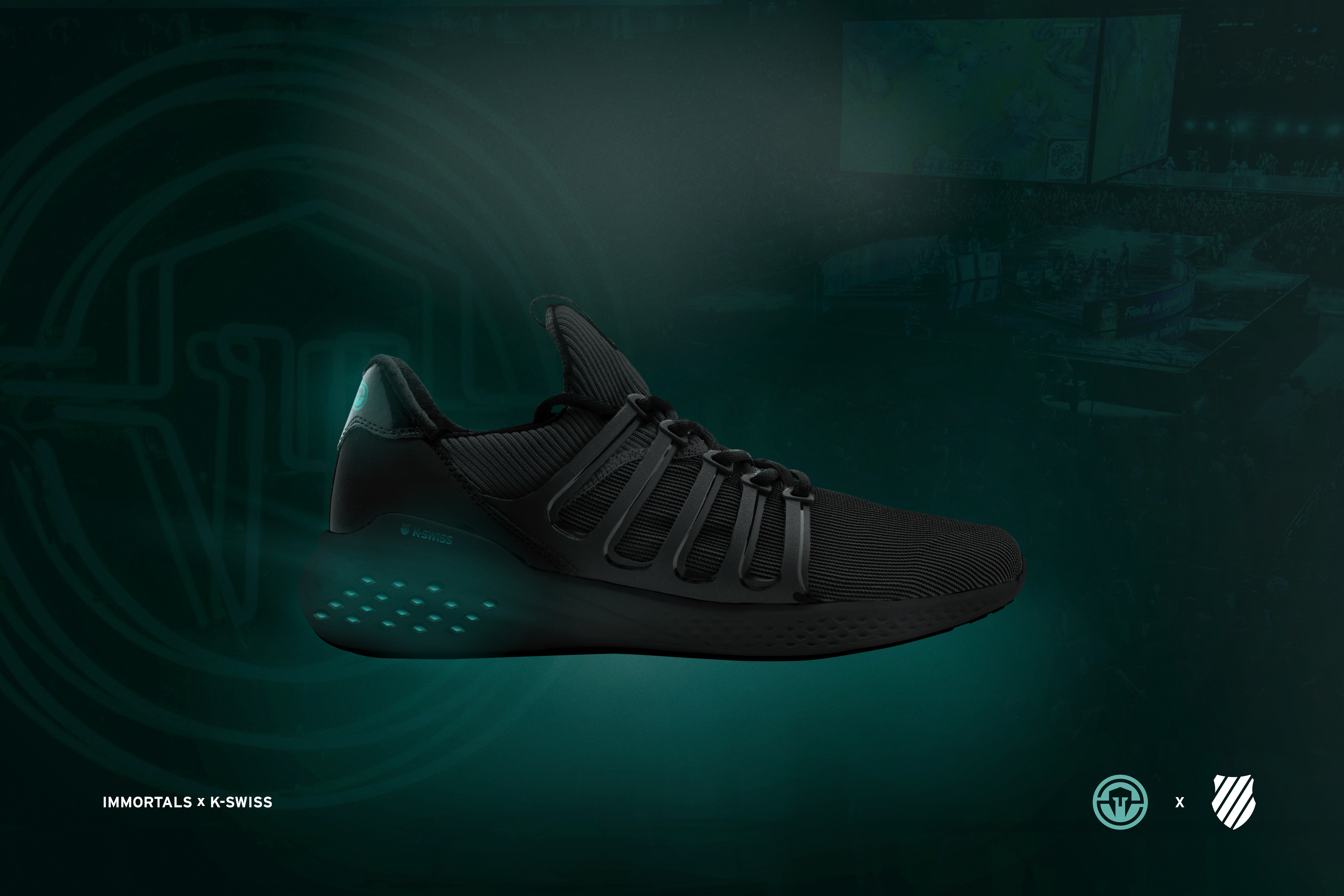 K-Swiss and the Immortals esports team collaborated on custom sneakers.