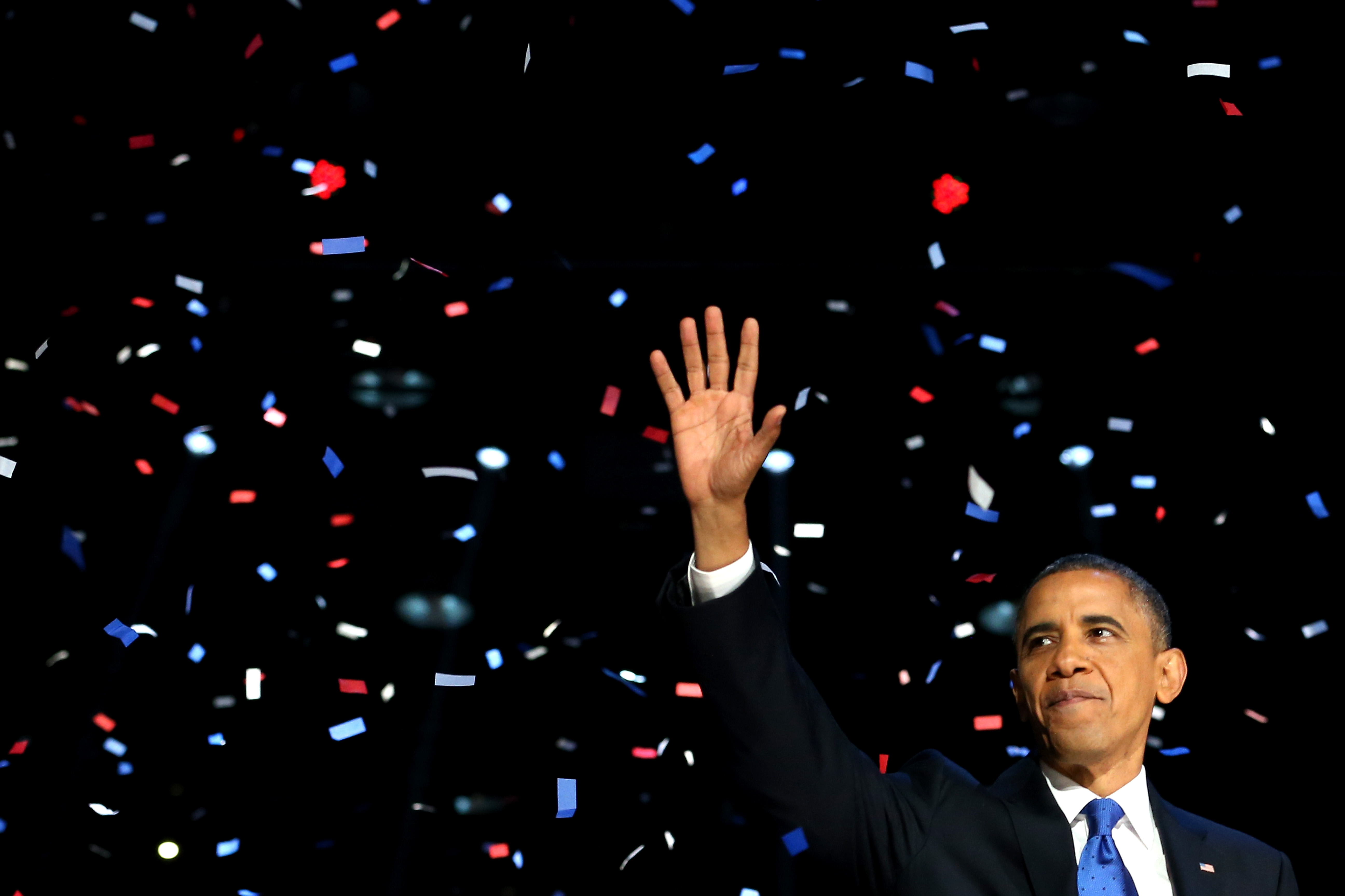 U.S. President Barack Obama waves to supporters after his victory speech at McCormick Place on election night November 6, 2012 in Chicago, Illinois.