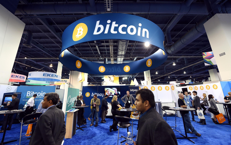 A bitcoin booth at a trade show