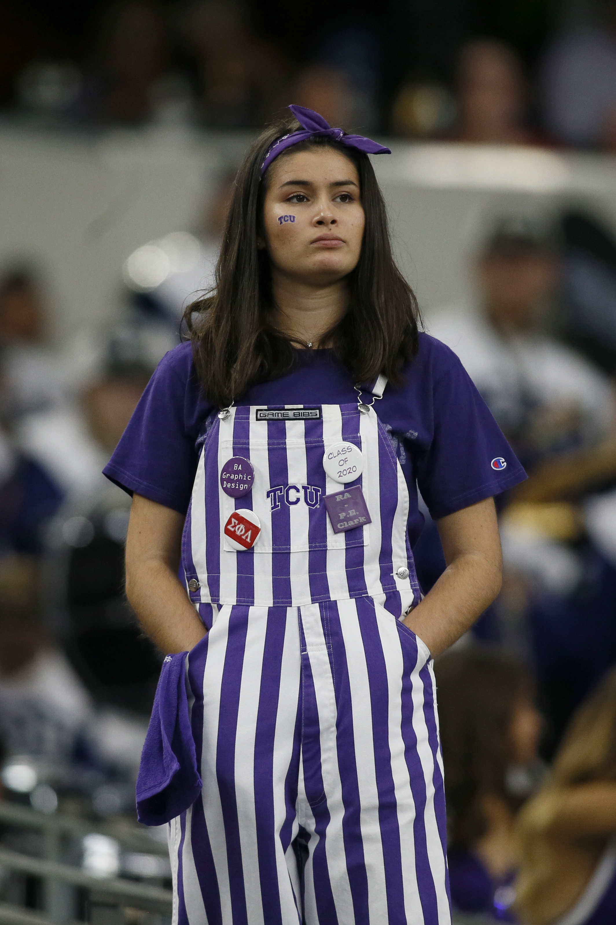 A TCU Horned Frogs fan in the stands during the game against the Oklahoma Sooners in the Big 12 Championship game, December 2, 2017
