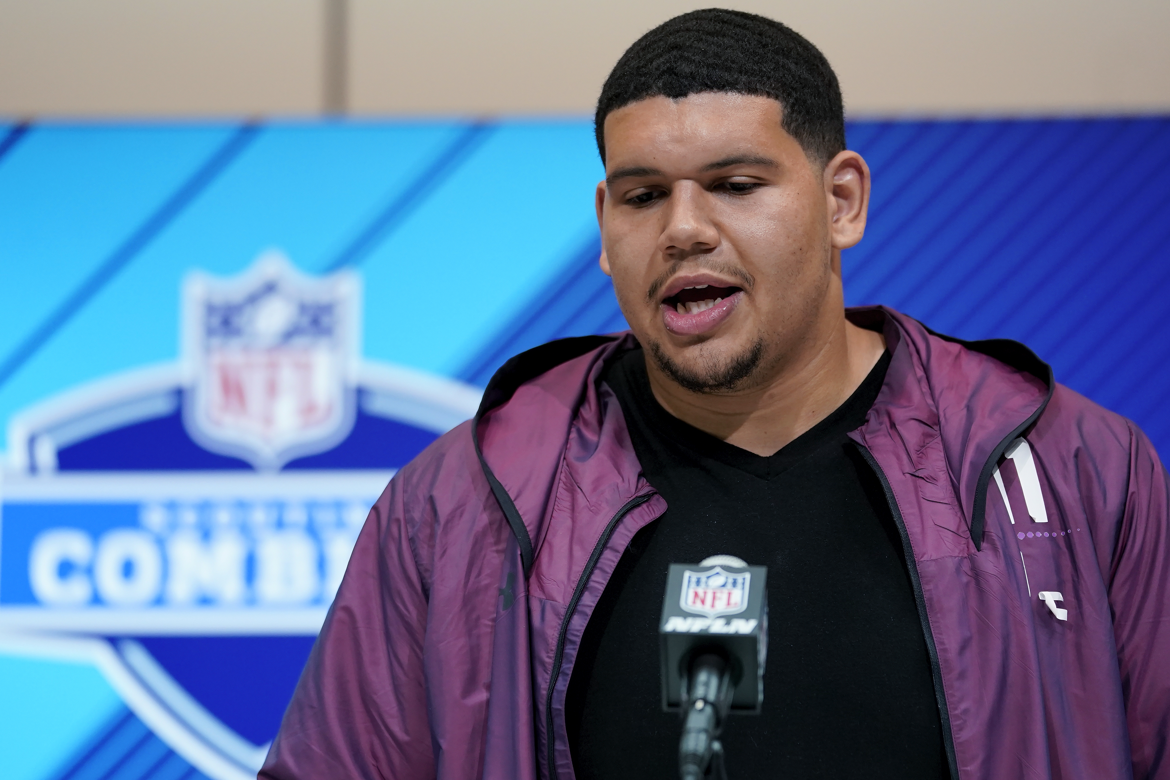 Maine OT Jamil Demby at the 2018 NFL Scouting Combine