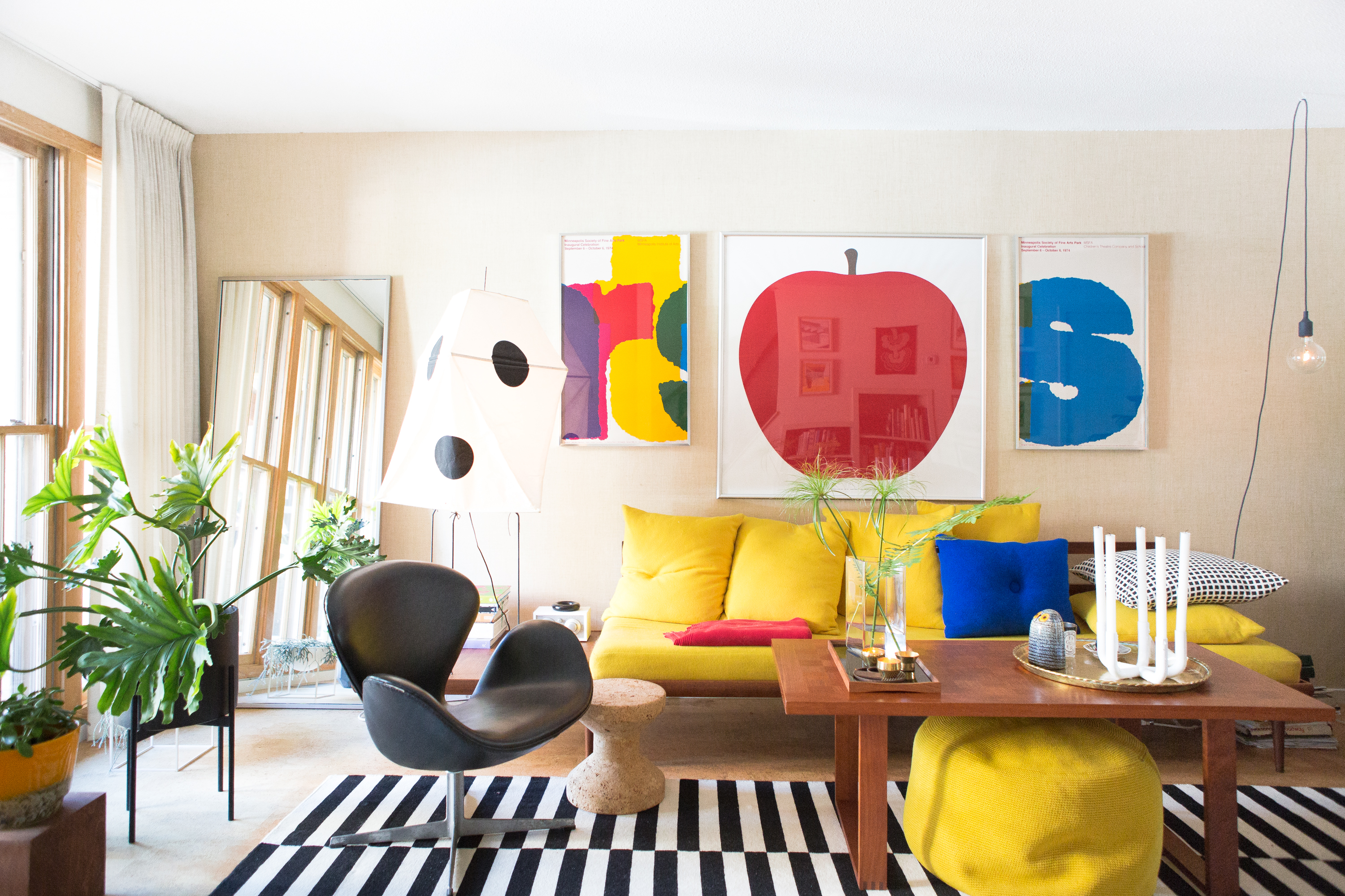 colorful living room of Minneapolis home