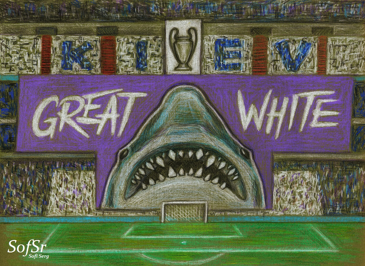 The Grada Fans during the match between Real Madrid and Juventus. Illustration by Sofi Serg.