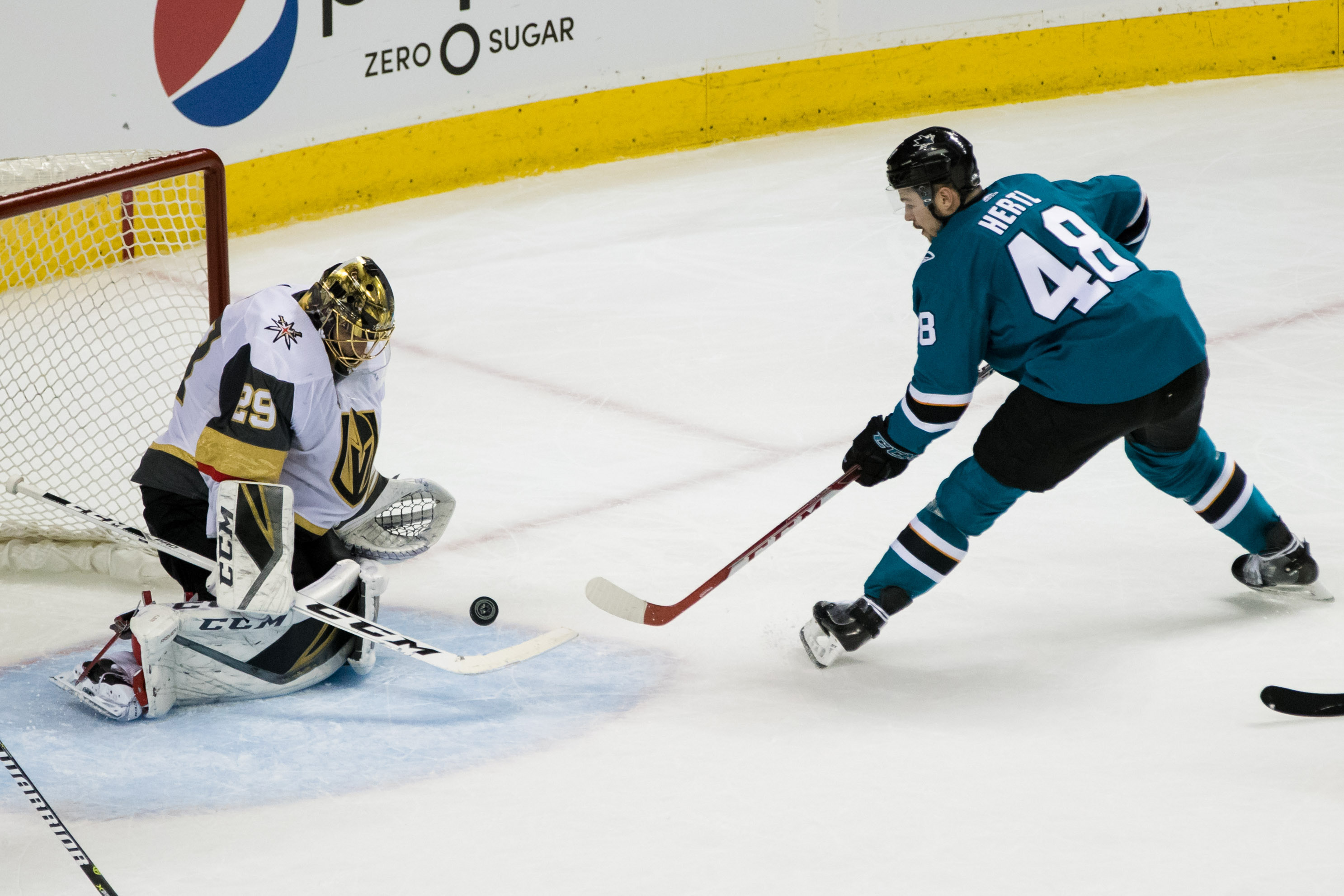Apr 30, 2018; San Jose, CA, USA; San Jose Sharks center Tomas Hertl (48) shoots as Vegas Golden Knights goaltender Marc-Andre Fleury (29) defends in the second period of game three of the second round of the 2018 Stanley Cup Playoffs at SAP Center at San
