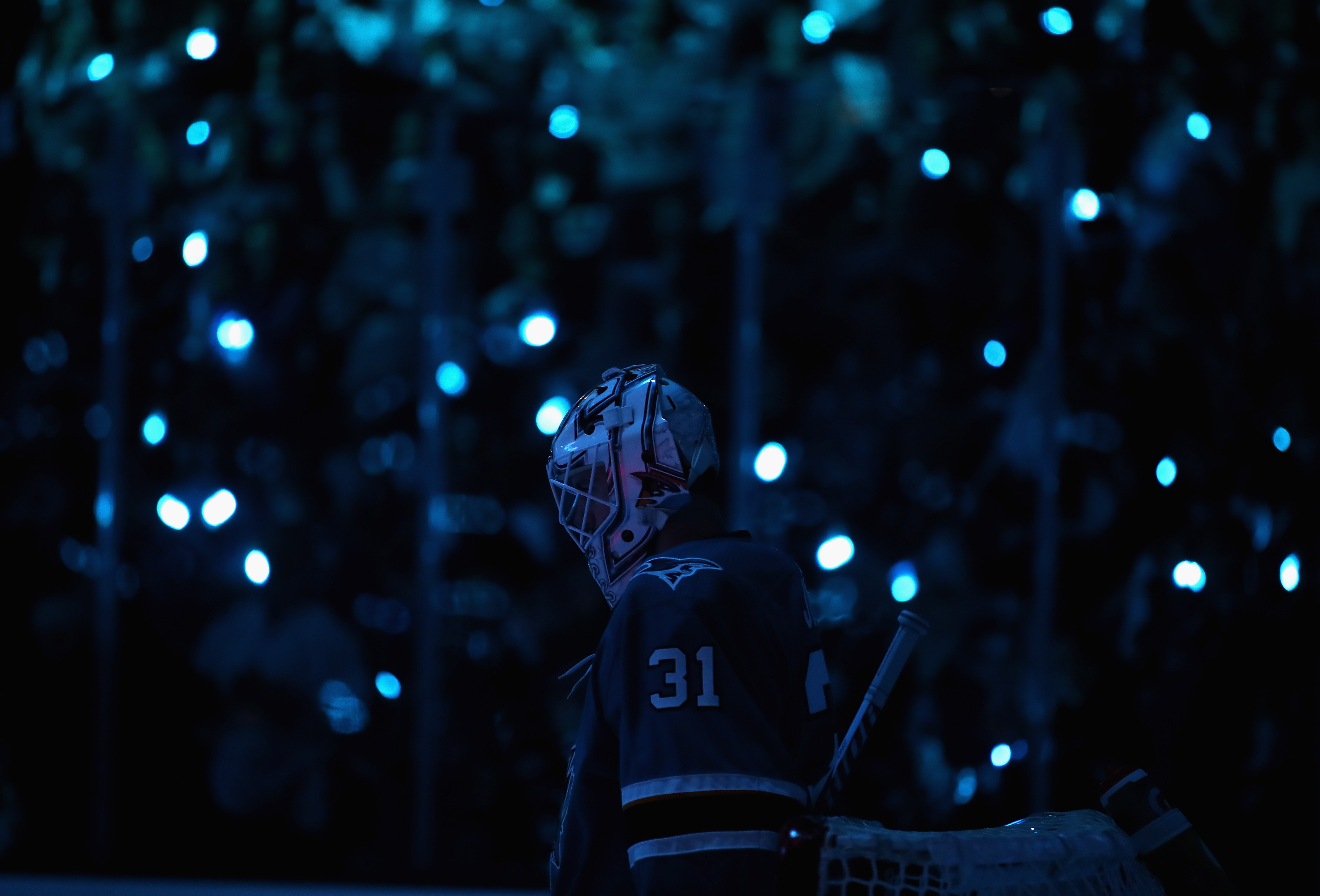 SAN JOSE, CA - APRIL 30: Martin Jones #31 of the San Jose Sharks stands in goal before their game against the Vegas Golden Knights in Game Three of the Western Conference Second Round during the 2018 NHL Stanley Cup Playoffs at SAP Center on April 30, 201