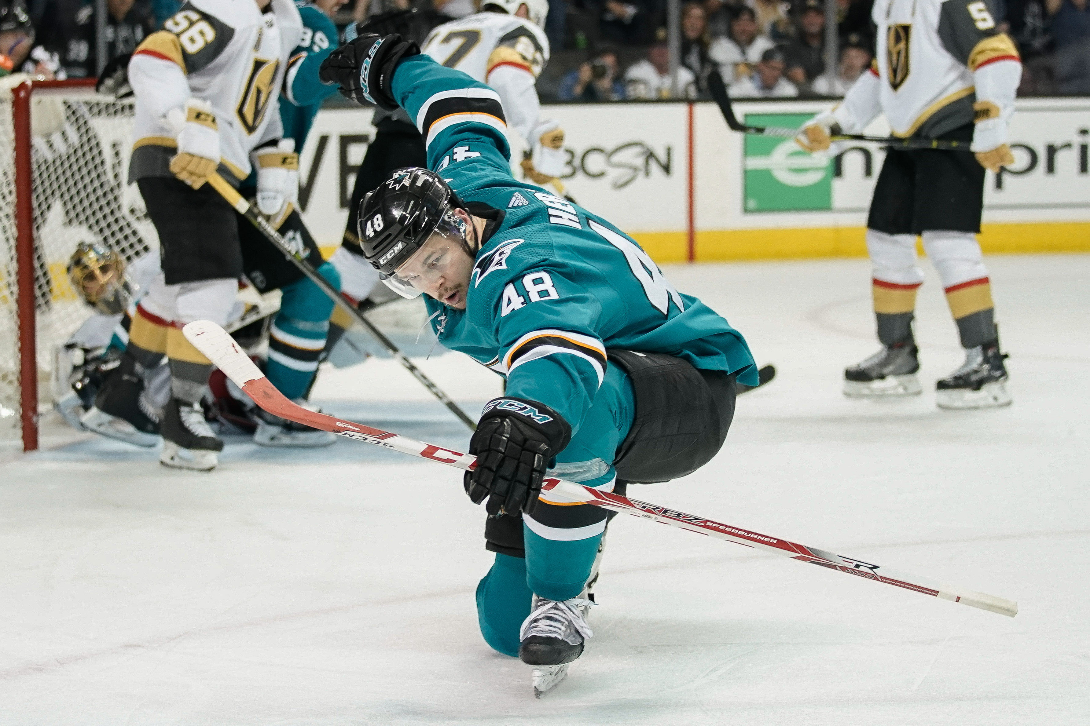 May 2, 2018; San Jose, CA, USA; San Jose Sharks center Tomas Hertl (48) celebrates during the second period against the Vegas Golden Knights in game four of the second round of the 2018 Stanley Cup Playoffs at SAP Center at San Jose.